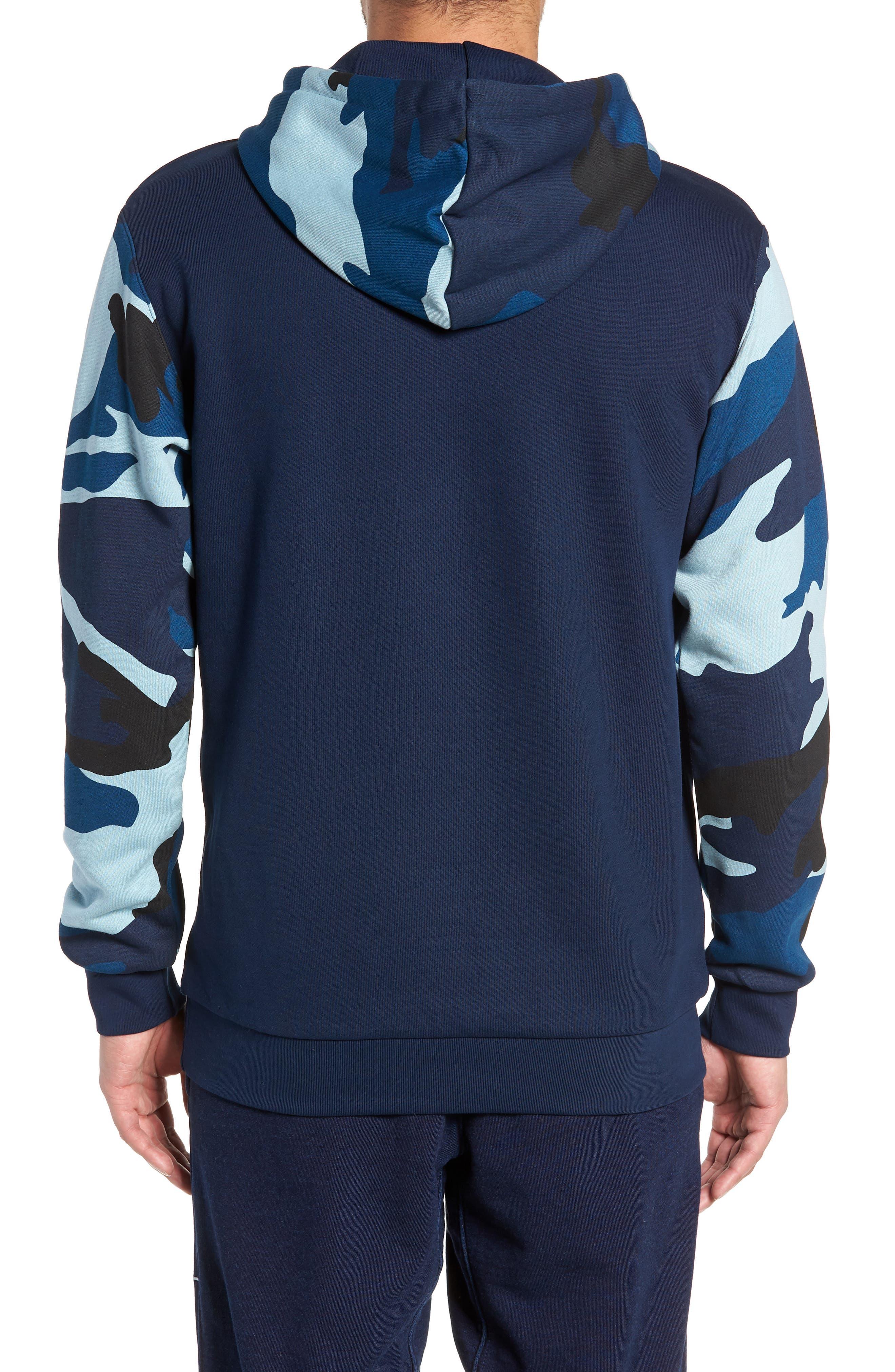 ADIDAS ORIGINALS, Camo Hooded Sweatshirt, Alternate thumbnail 2, color, COLLEGIATE NAVY