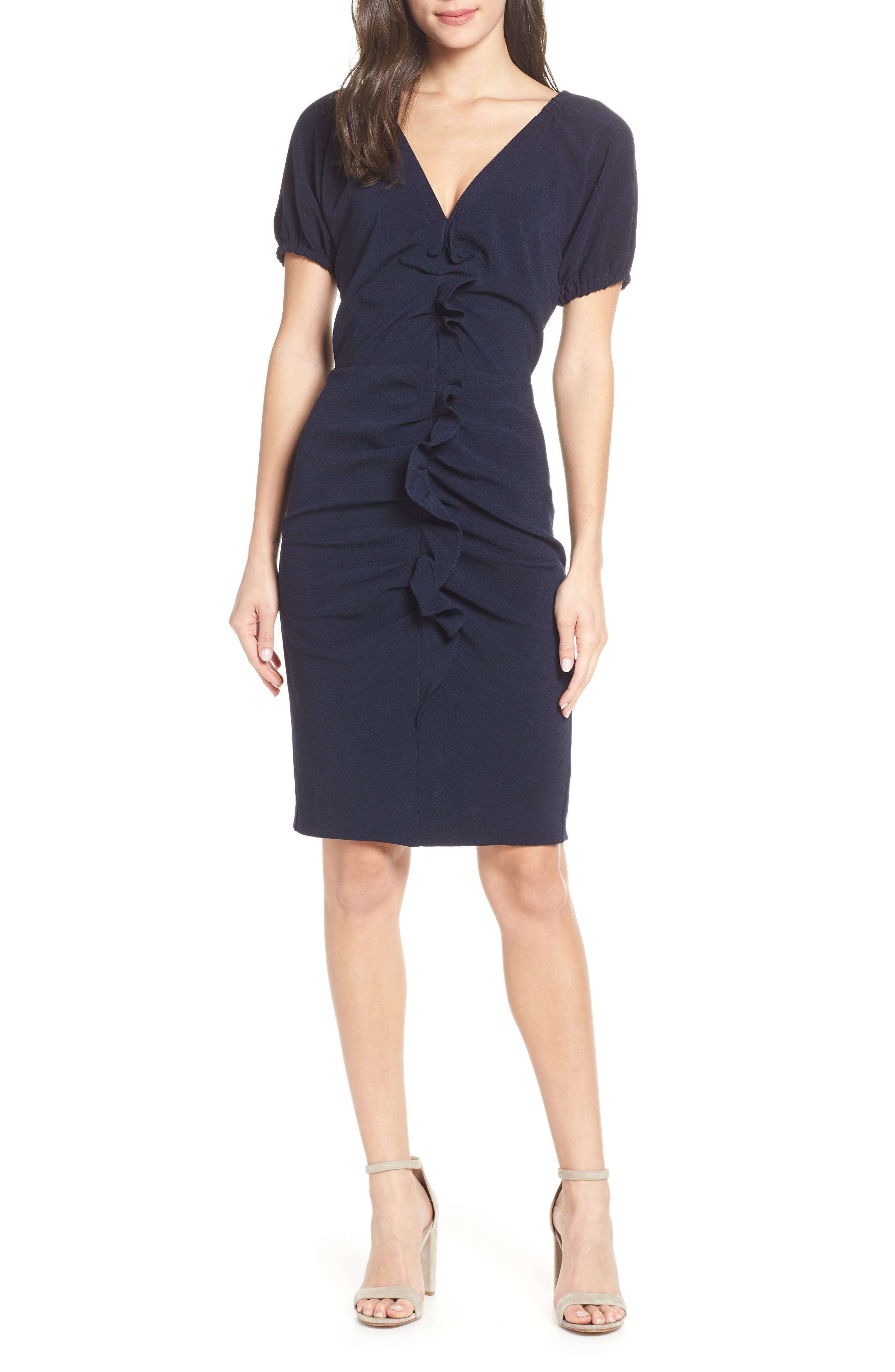 CHELSEA28, Ruffle Front Sheath Dress, Main thumbnail 1, color, 410