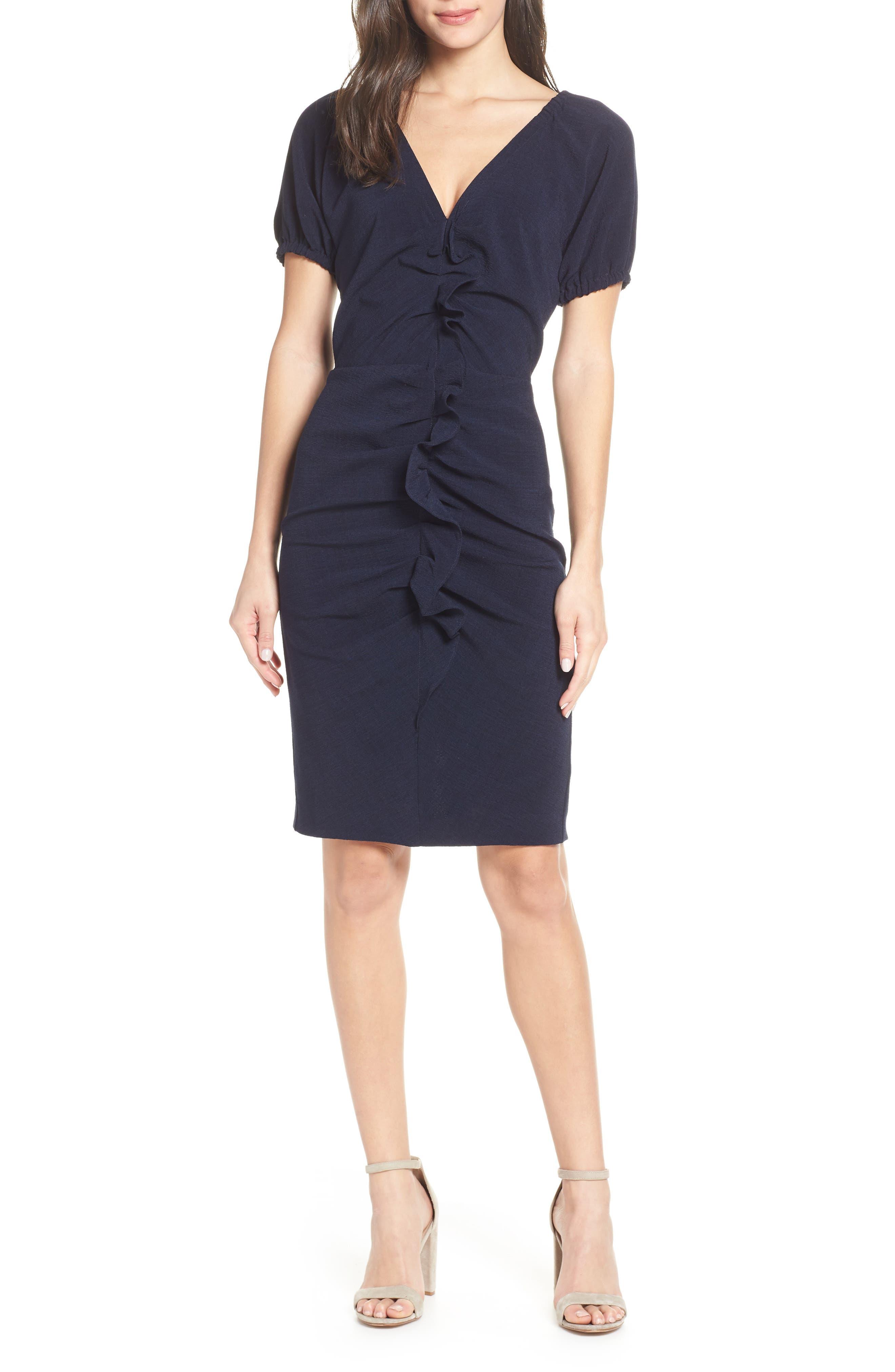CHELSEA28 Ruffle Front Sheath Dress, Main, color, 410