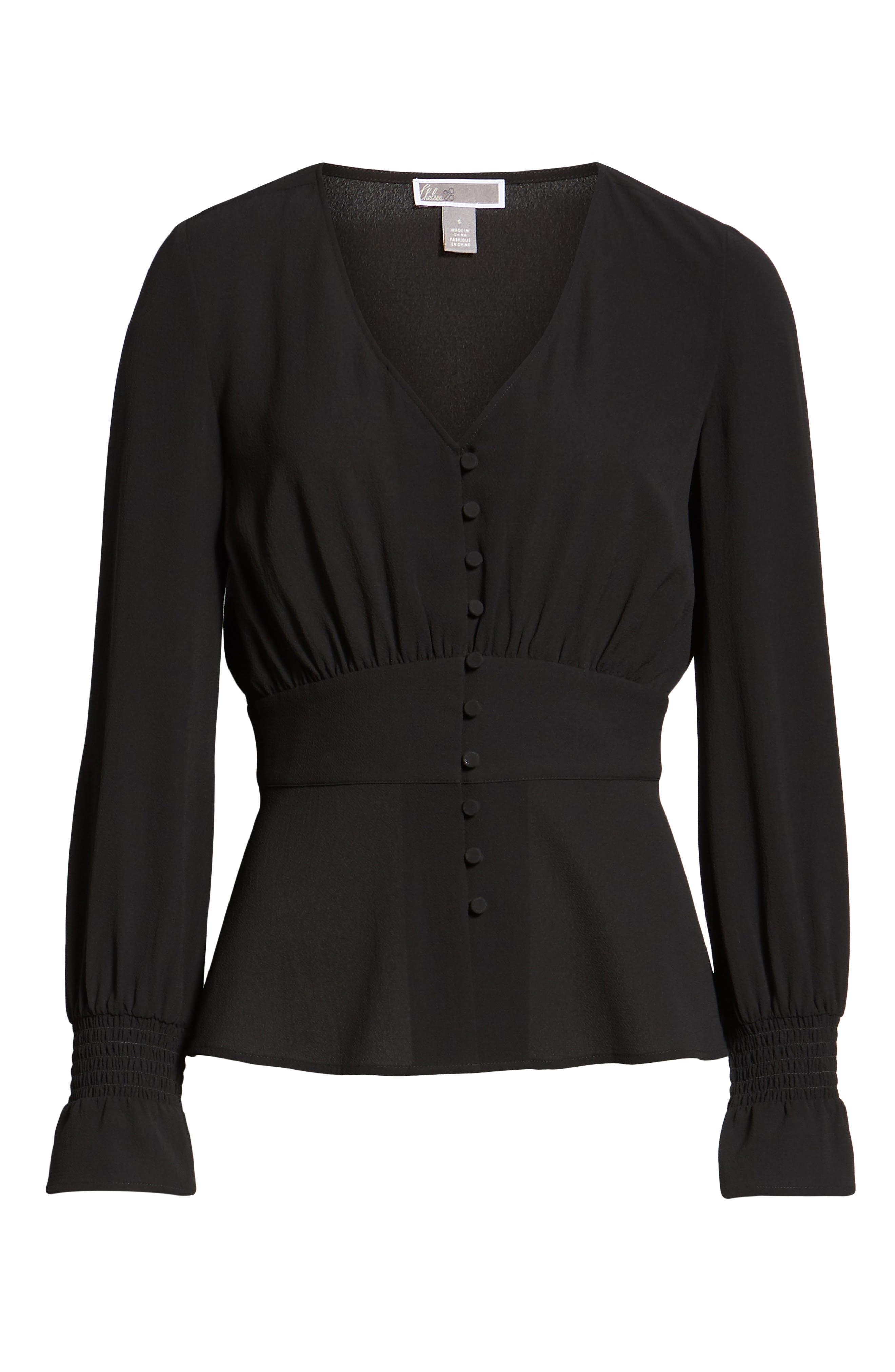CHELSEA28, Smocked Sleeve Top, Alternate thumbnail 6, color, BLACK