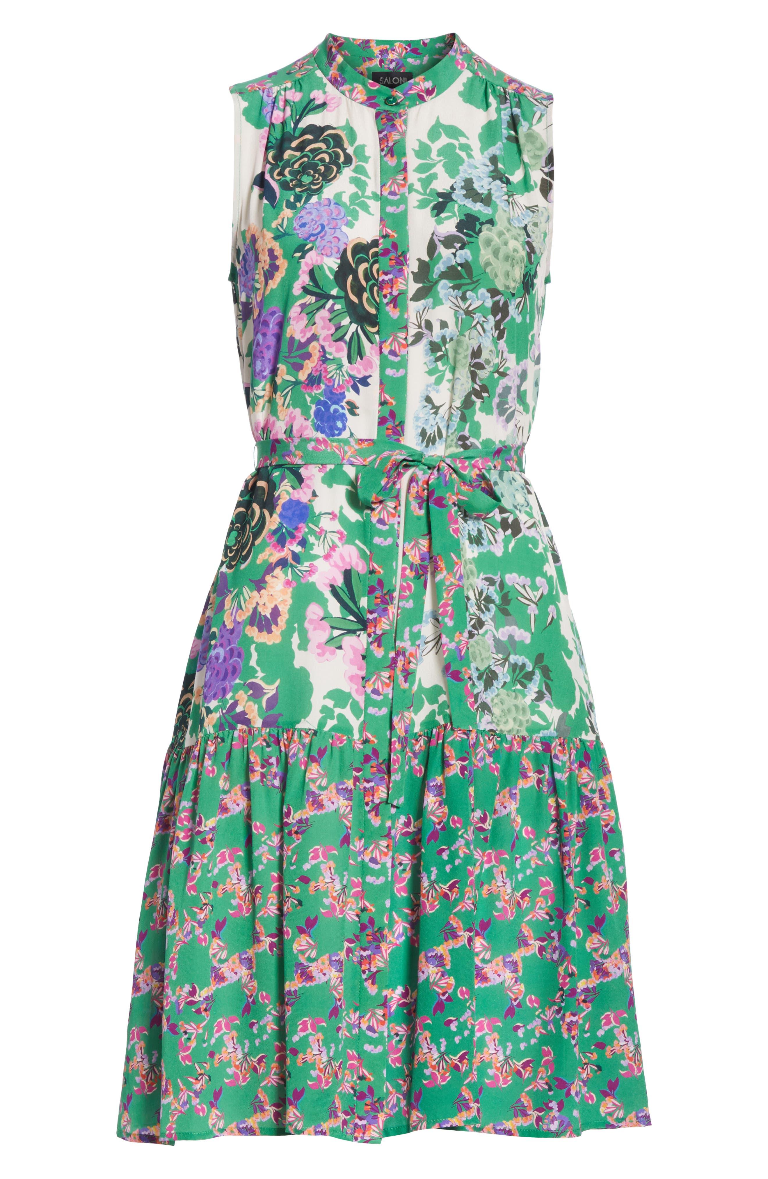 SALONI, Tilly Print Silk Dress, Alternate thumbnail 6, color, ROSE MEADOW PLMT