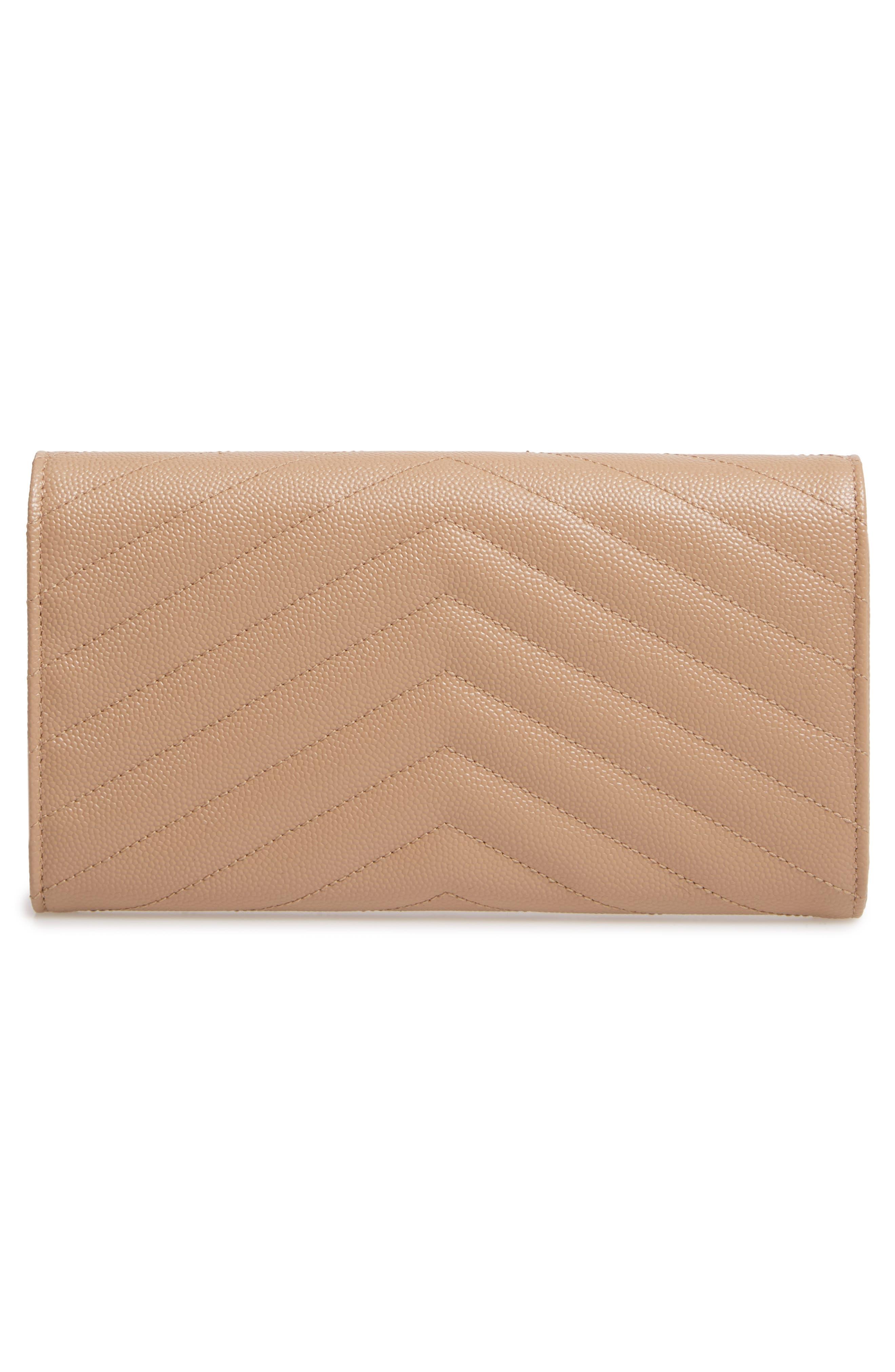SAINT LAURENT, Monogram Logo Leather Flap Wallet, Alternate thumbnail 3, color, CHENE