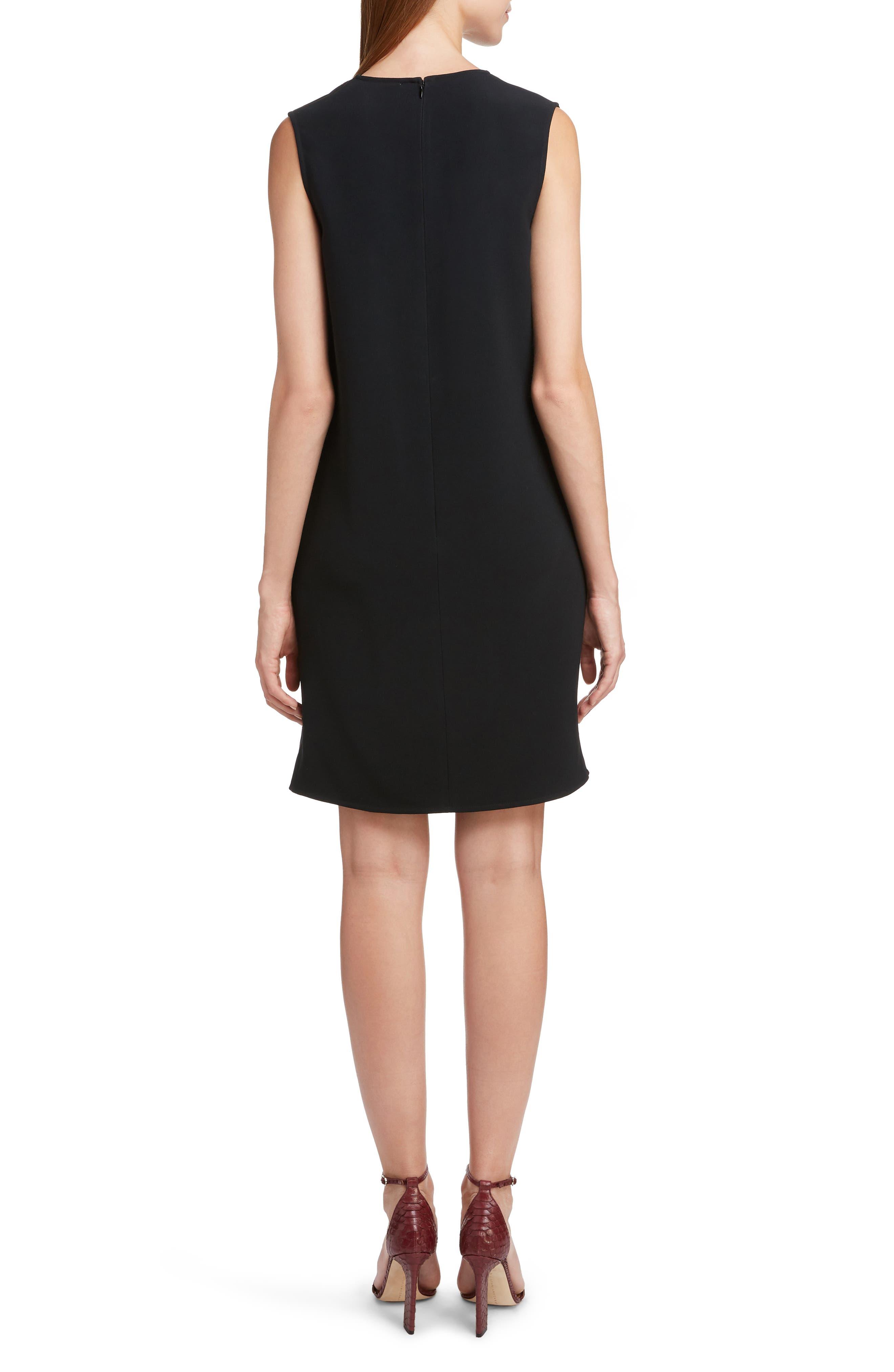 VICTORIA BECKHAM, Asymmetrical Pleat Shift Dress, Alternate thumbnail 2, color, BLACK