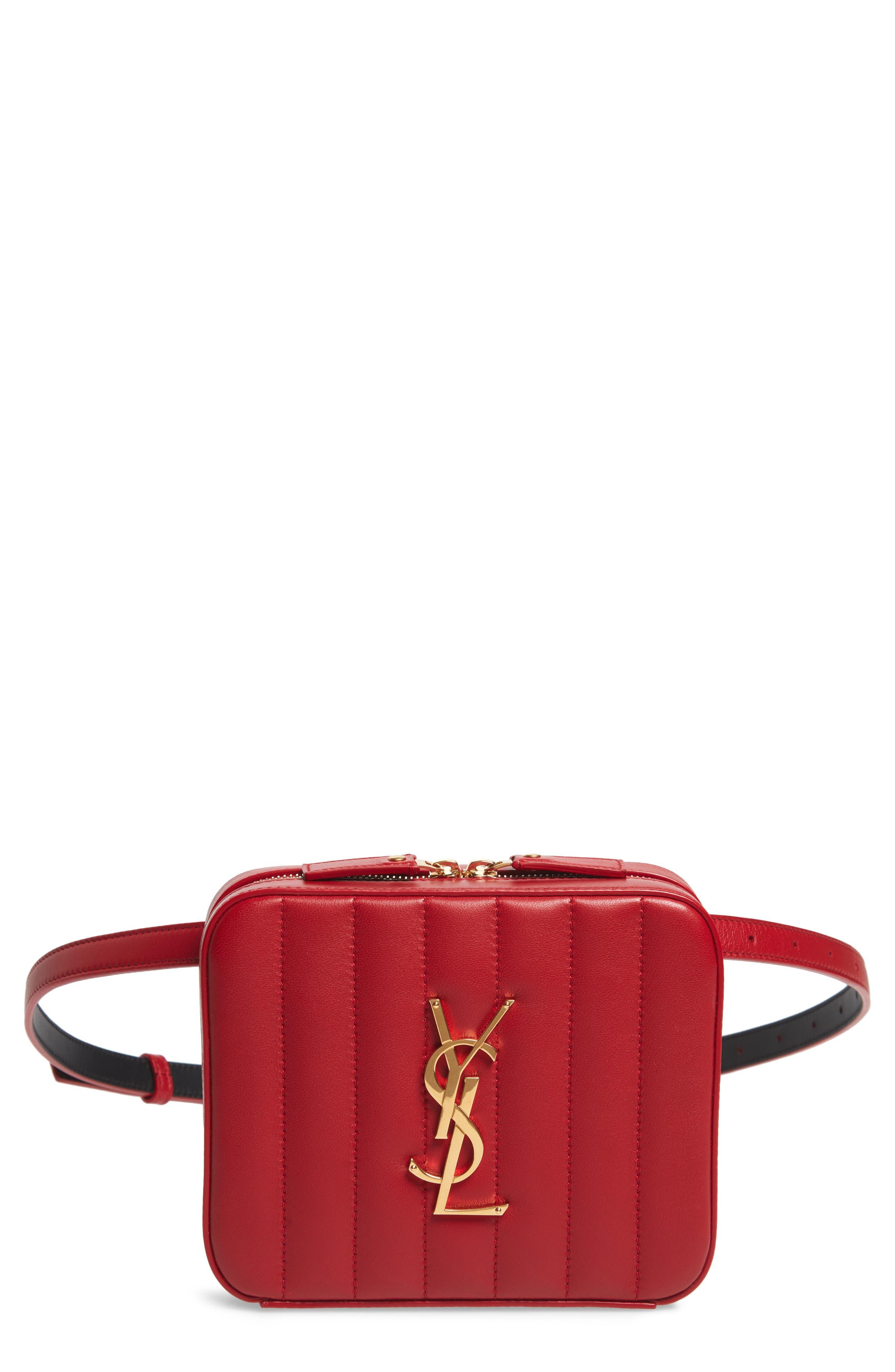 SAINT LAURENT, Vicky Lambskin Leather Belt Bag, Main thumbnail 1, color, ROUGE EROS