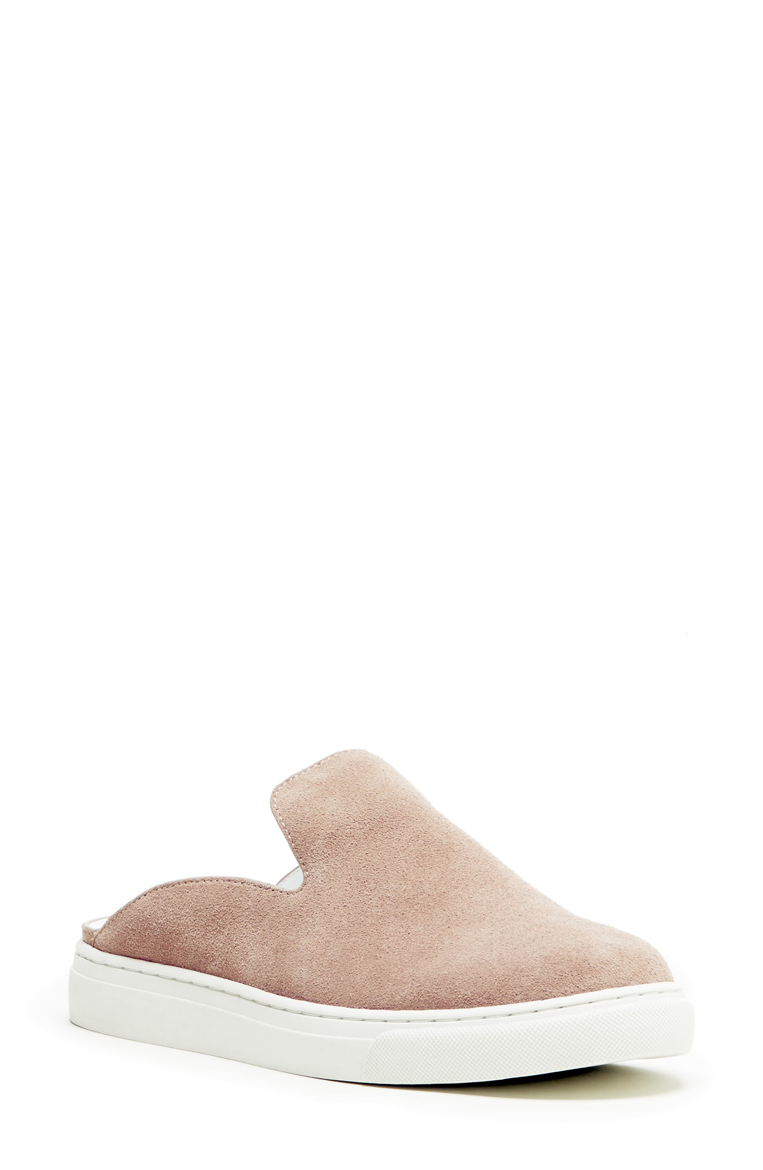 SOLE SOCIETY, Belynda Slide Sneaker, Main thumbnail 1, color, DUSTY ROSE SUEDE