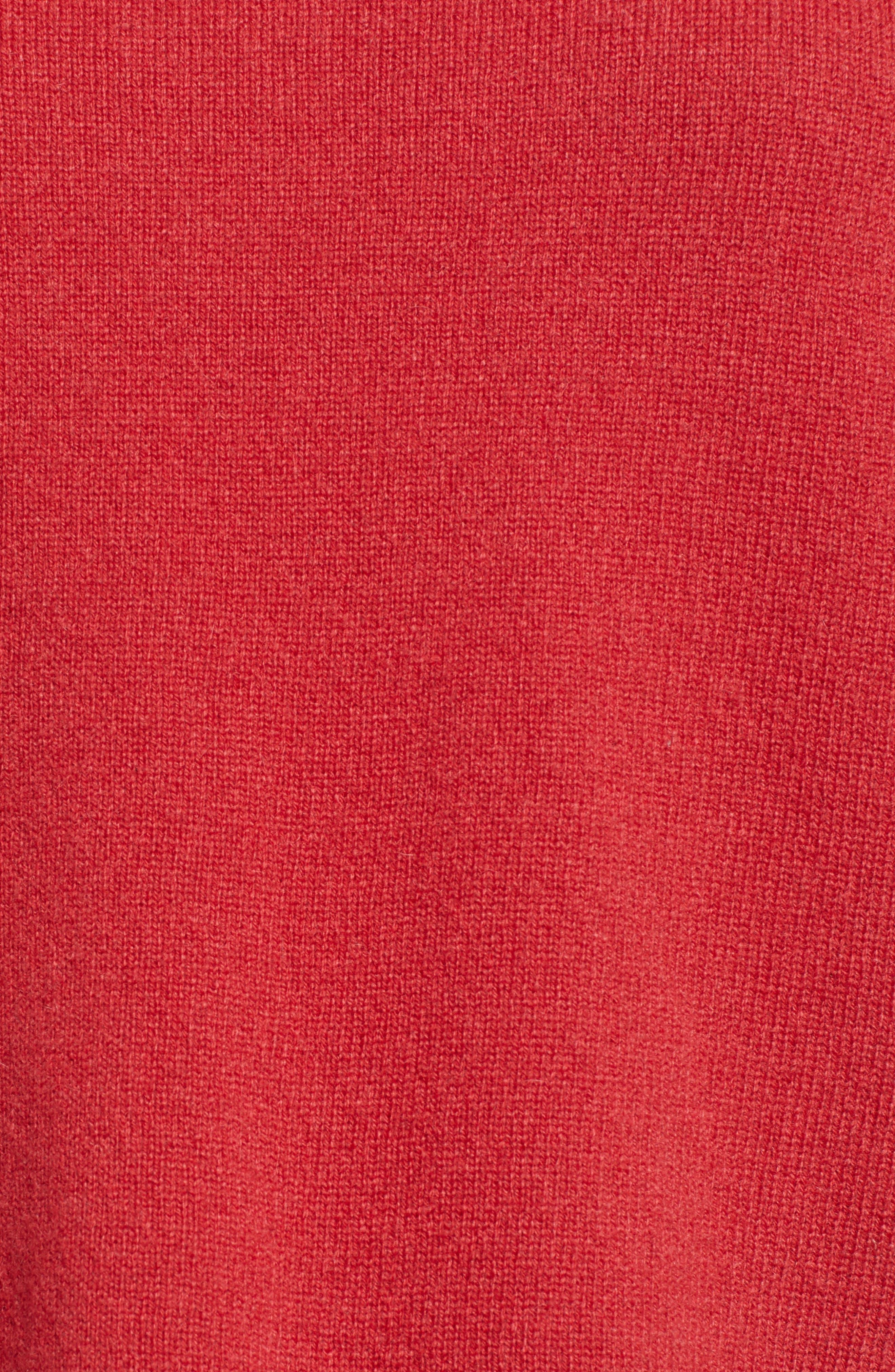 VELVET BY GRAHAM & SPENCER, Cashmere Tie Sleeve Sweater, Alternate thumbnail 5, color, SNAPPER