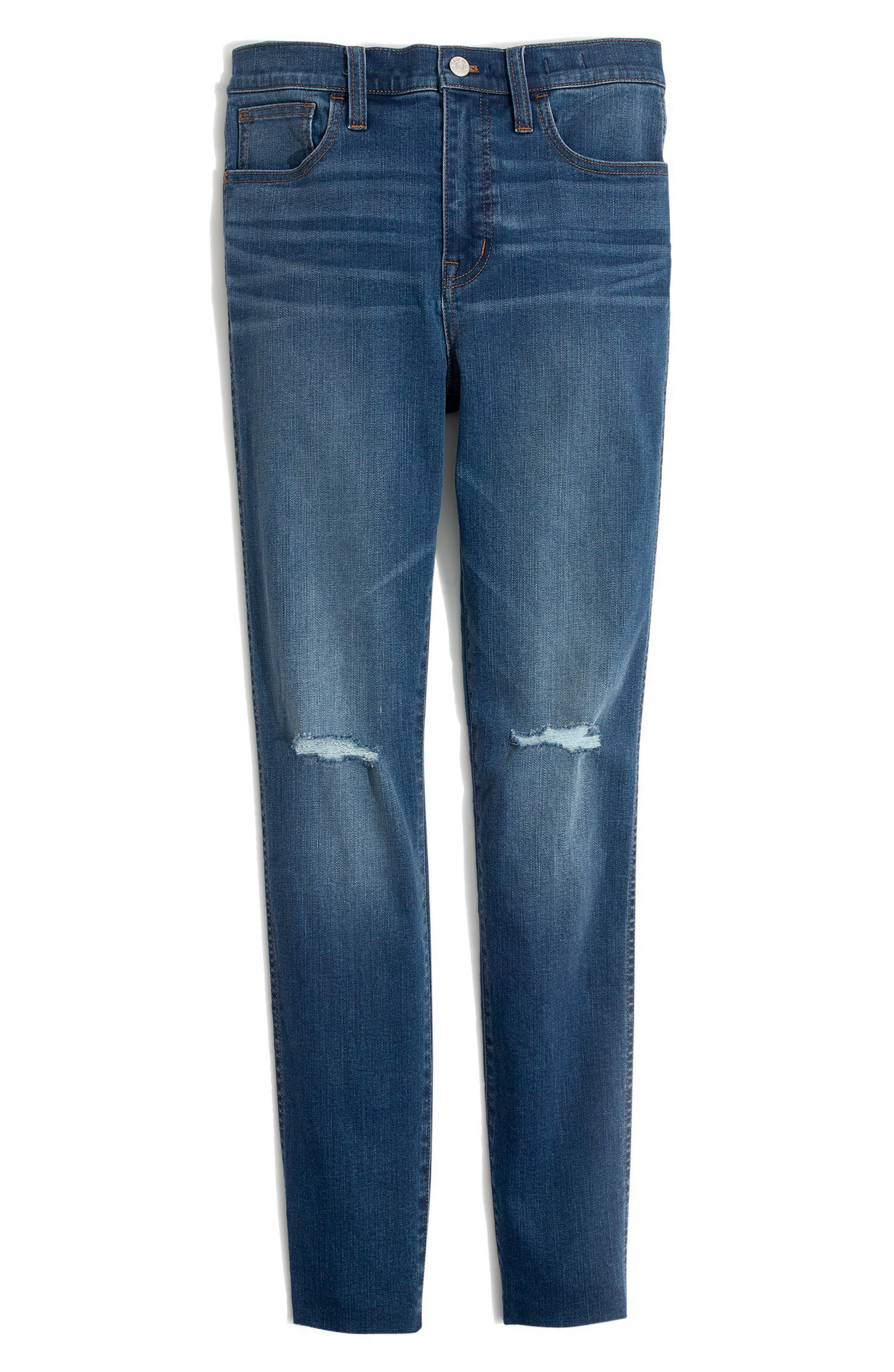 MADEWELL, Roadtripper Ripped High Waist Ankle Skinny Jeans, Alternate thumbnail 4, color, THE ROAD TRIPPER W/ SLIT KNEES