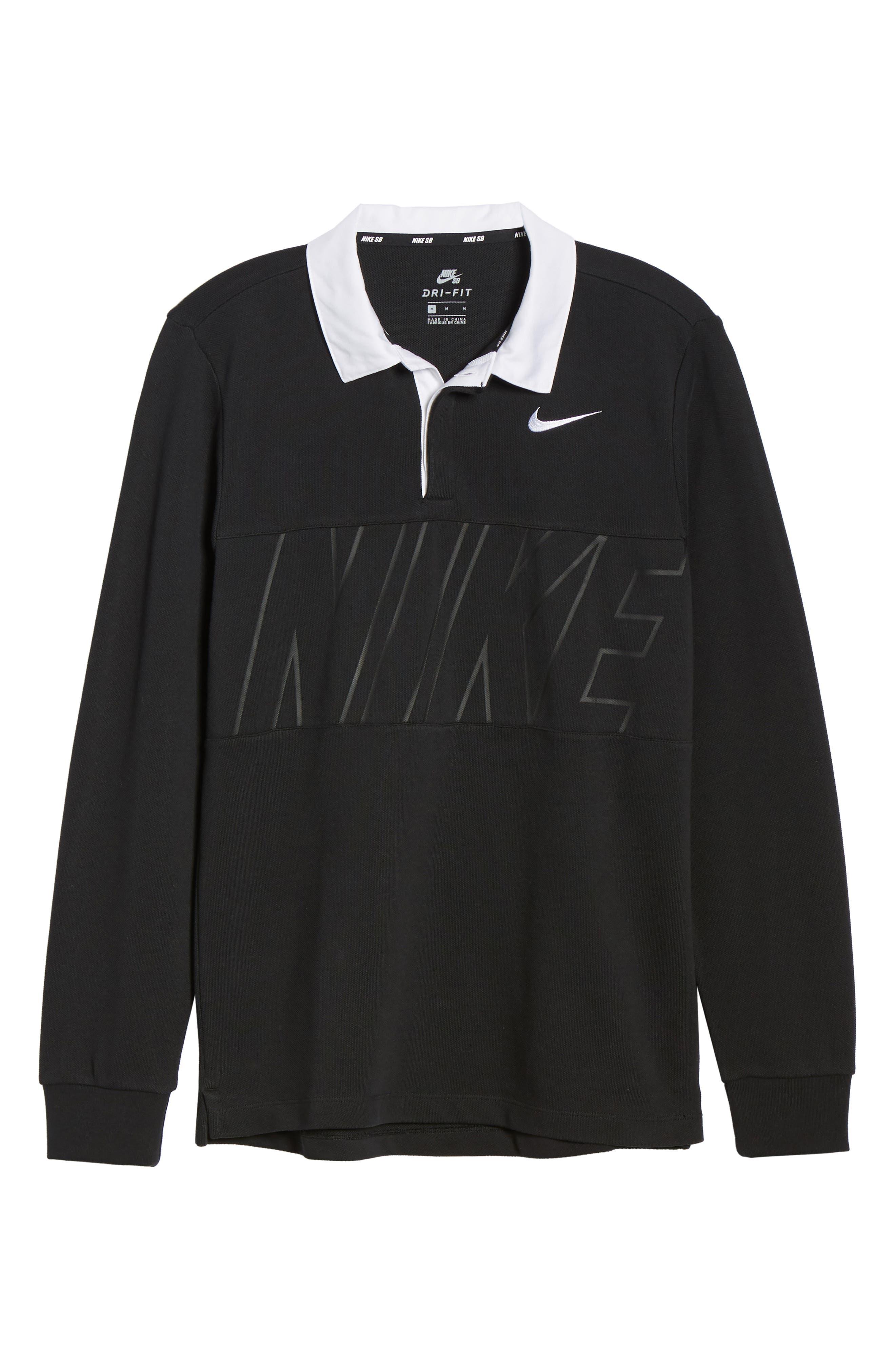 NIKE SB, Nike Dry SB Rugby Polo, Alternate thumbnail 7, color, BLACK/BLACK/BLACK/WHITE