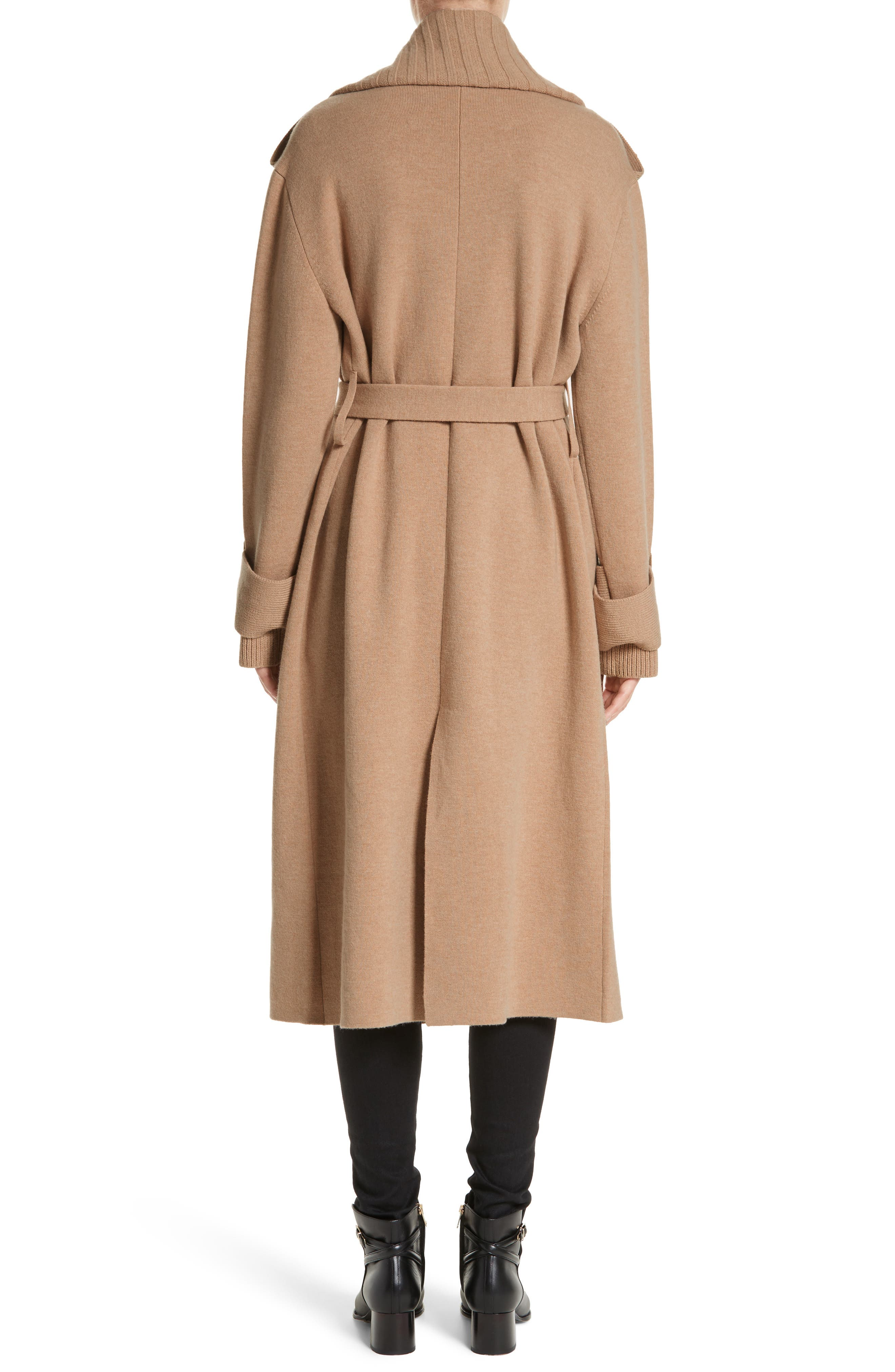 BURBERRY, Piota Wool Blend Knit Trench Coat, Alternate thumbnail 2, color, CAMEL