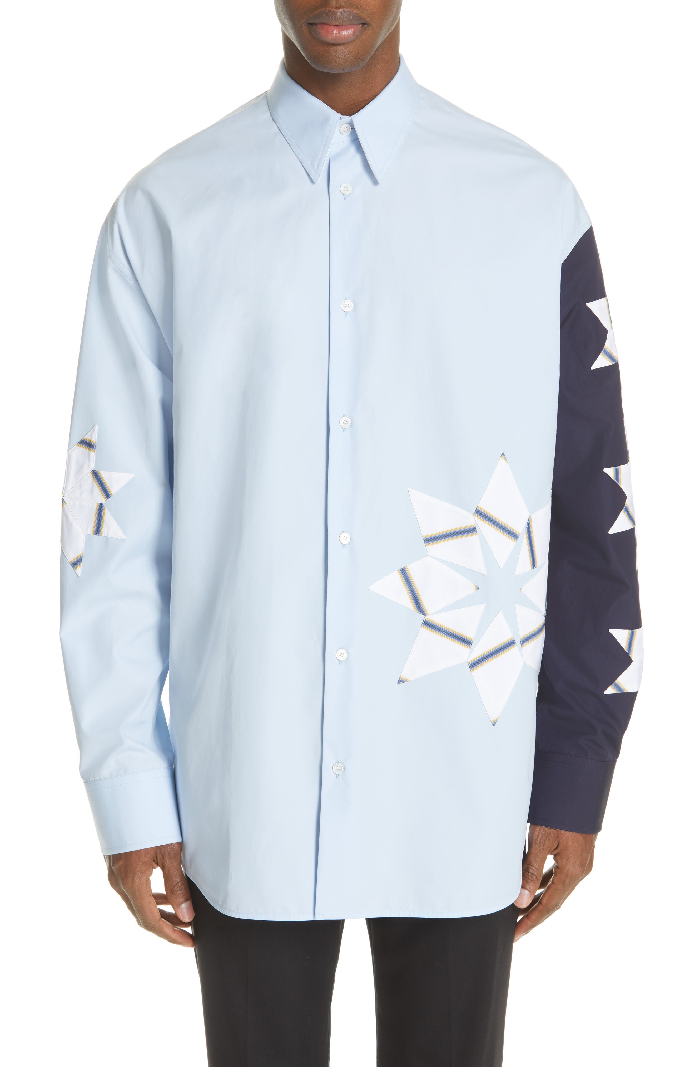CALVIN KLEIN 205W39NYC Pinwheel Sport Shirt, Main, color, LIGHT SKY MARINE