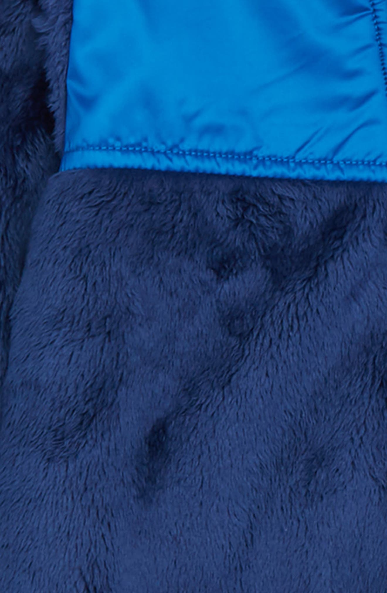THE NORTH FACE, Oso Hooded Fleece Romper, Alternate thumbnail 2, color, MIDLINE BLUE