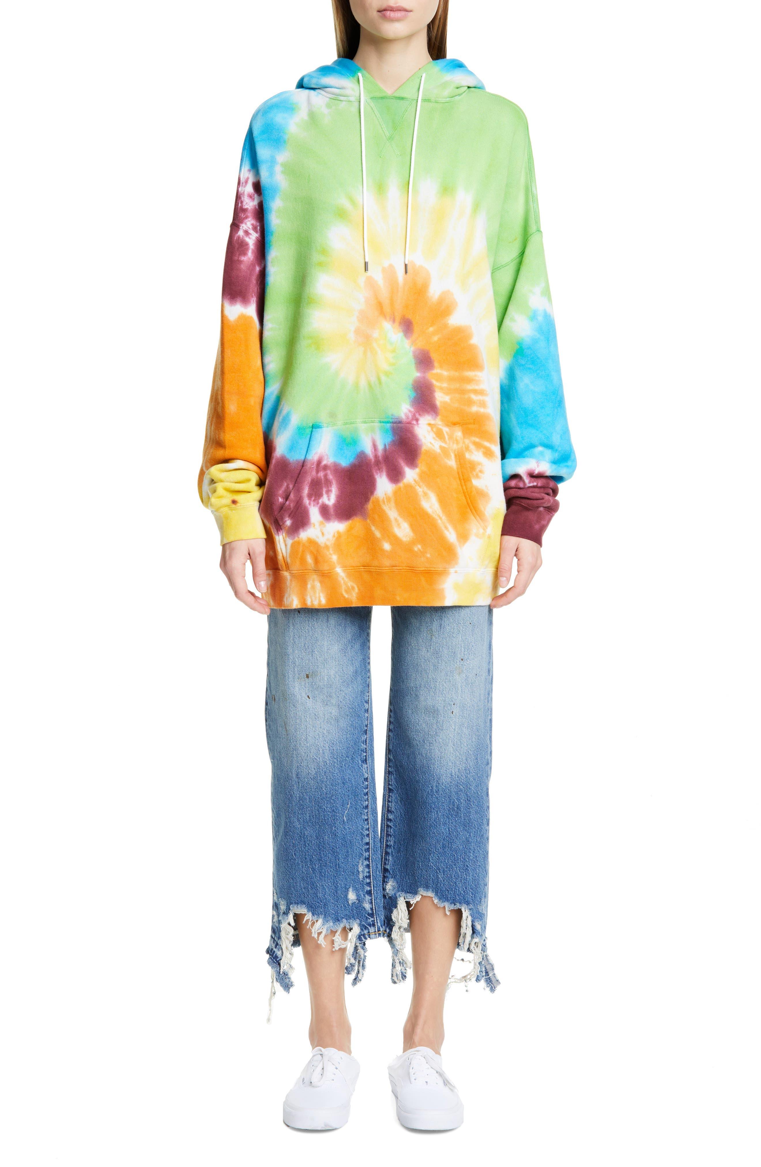 R13, Tie Dye Rainbow Hoodie, Alternate thumbnail 8, color, TIE DYE