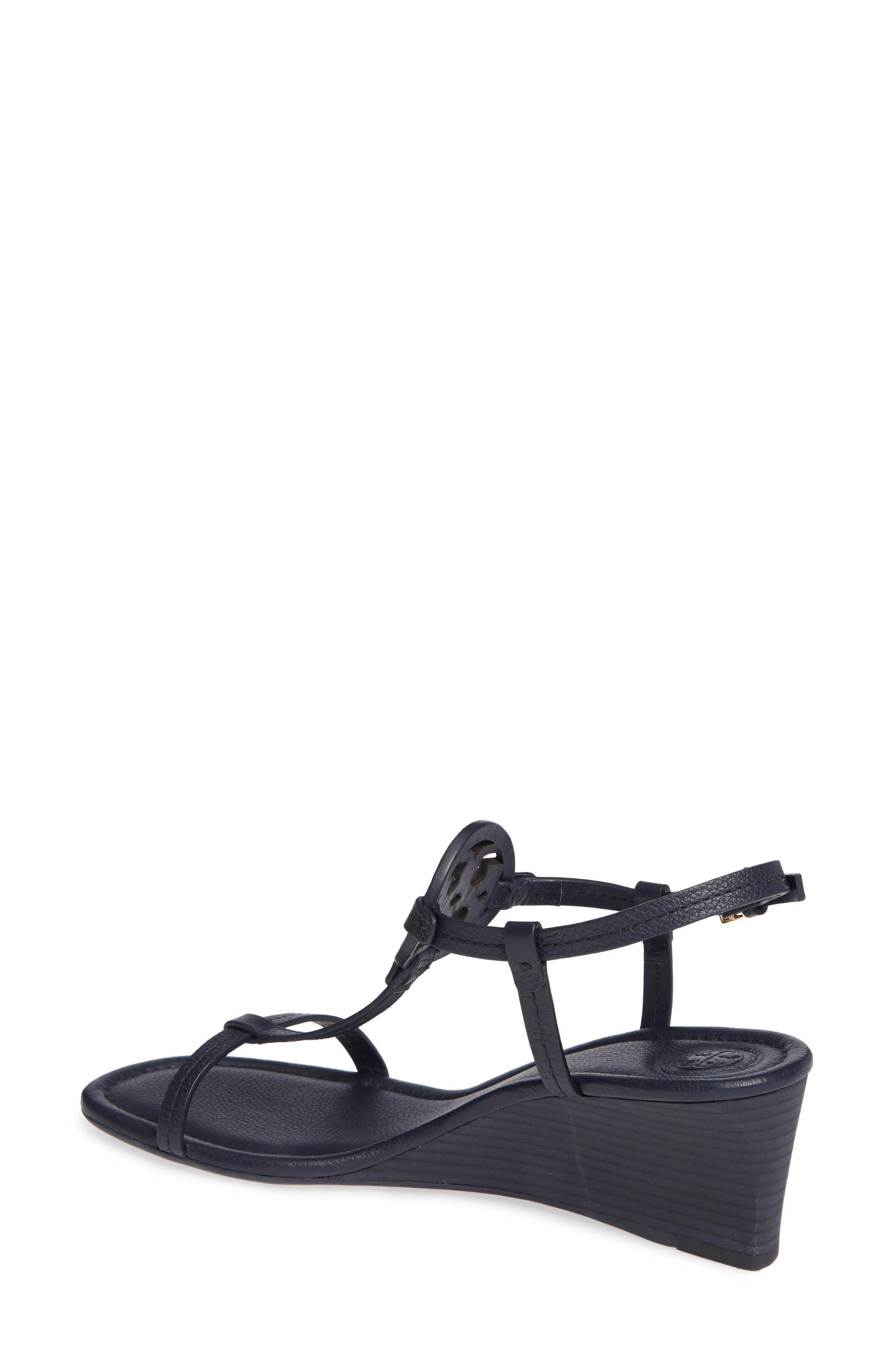TORY BURCH, Miller Wedge Sandal, Alternate thumbnail 2, color, PERFECT NAVY