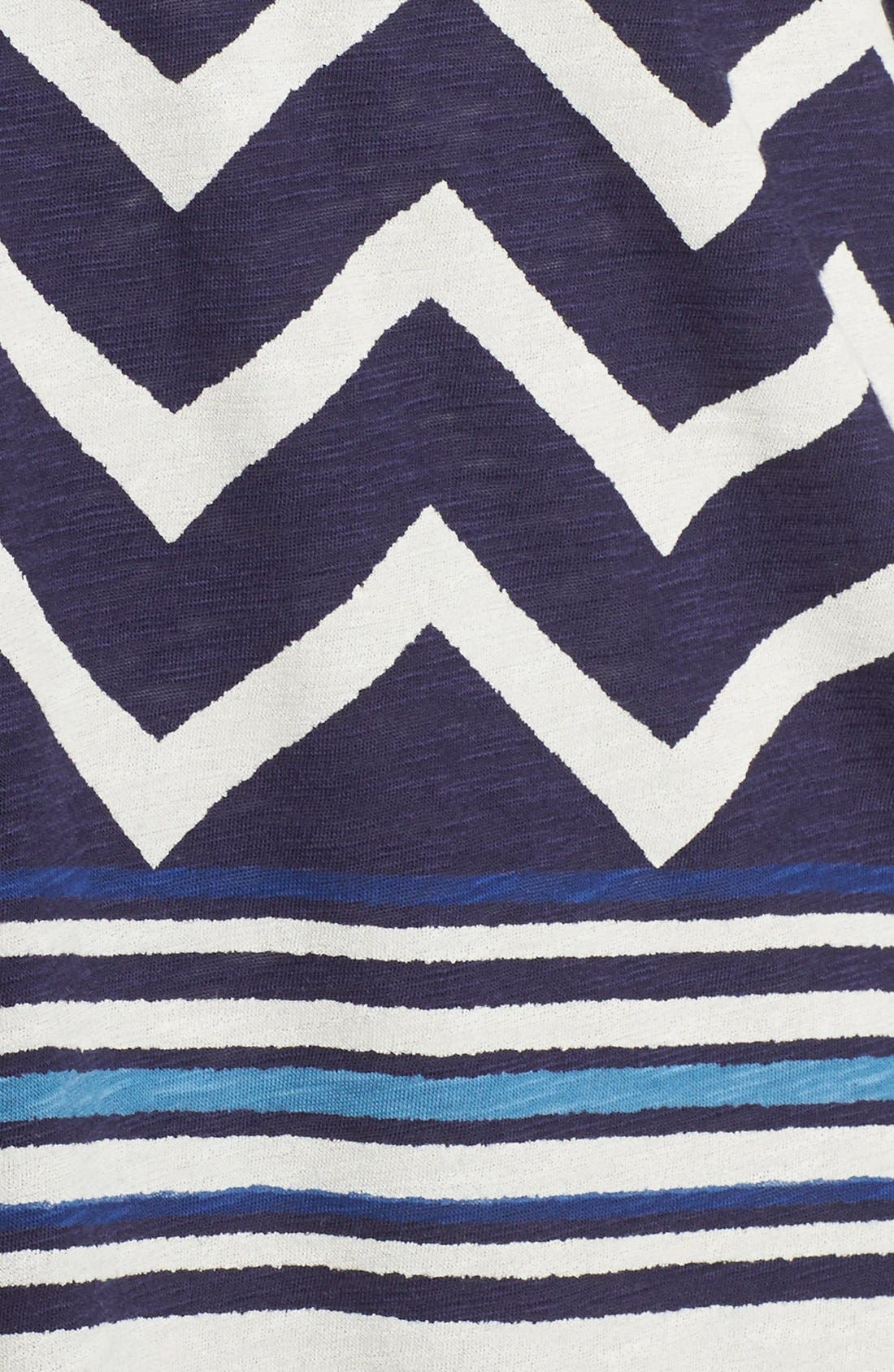 LUCKY BRAND, Chevron Stripe Split Neck Top, Alternate thumbnail 5, color, 400