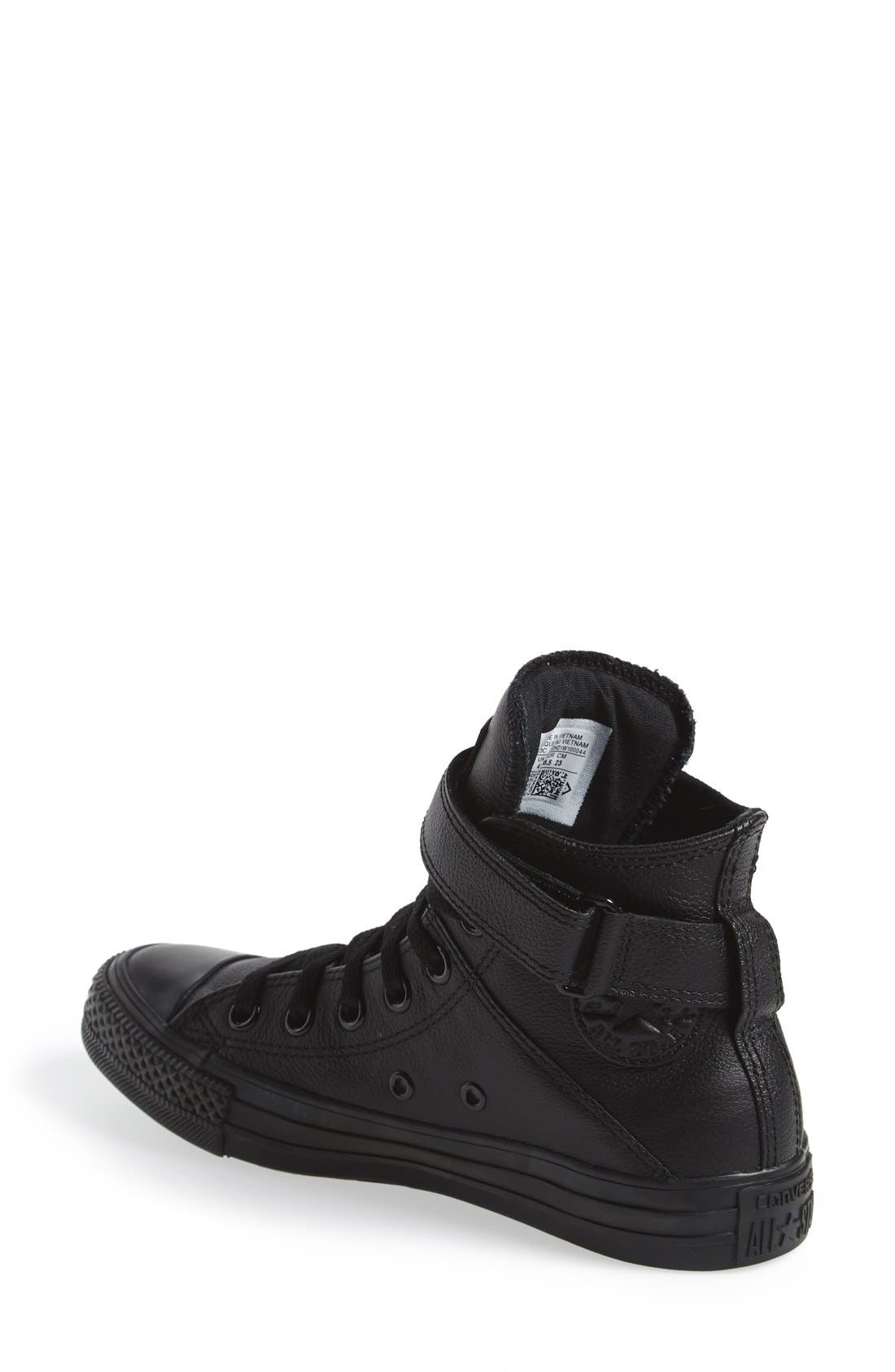 CONVERSE, Chuck Taylor<sup>®</sup> All Star<sup>®</sup> 'Brea' Leather High Top Sneaker, Alternate thumbnail 3, color, 001