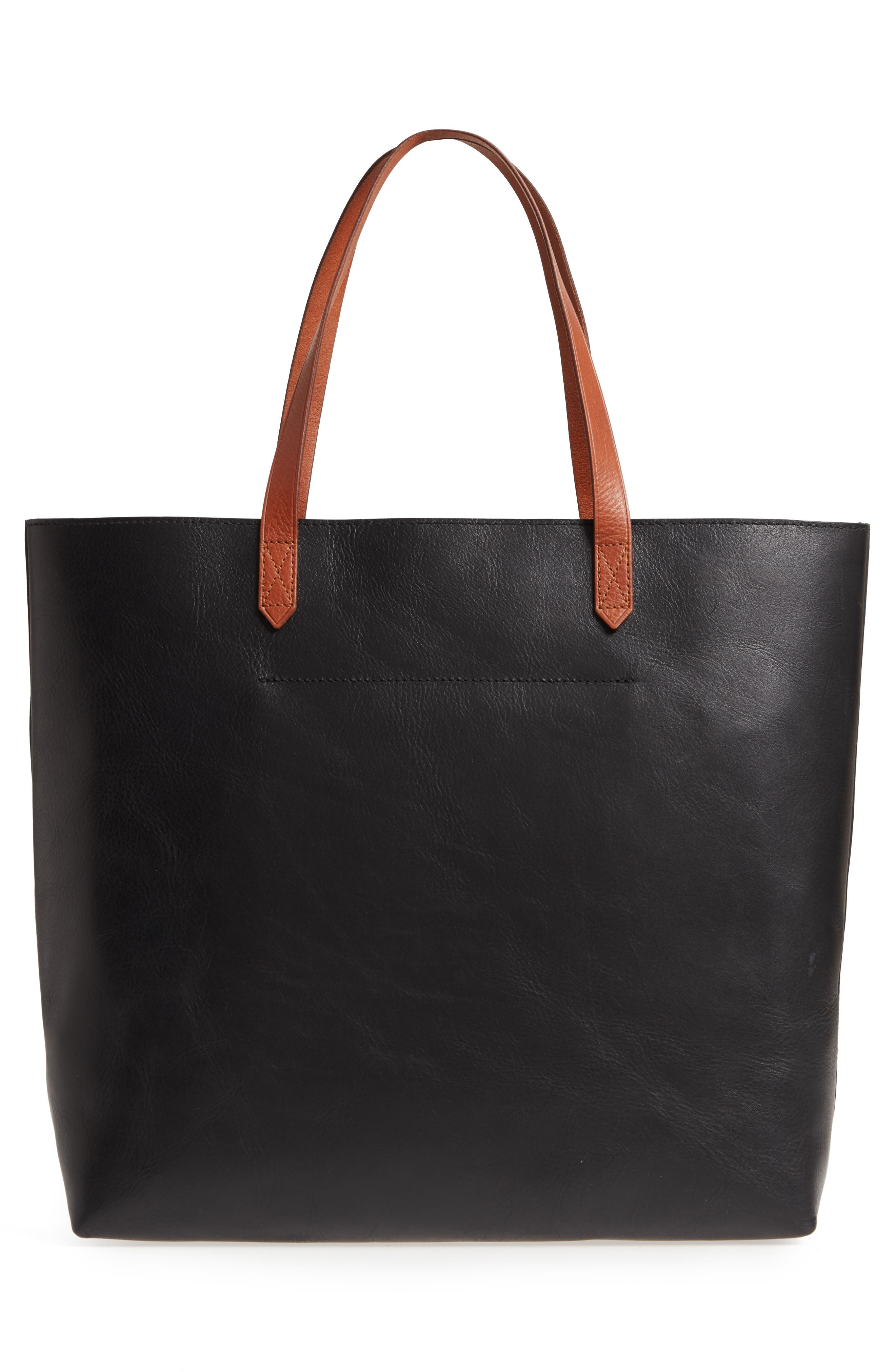 MADEWELL, Zip Top Transport Leather Tote, Alternate thumbnail 4, color, TRUE BLACK W/ BROWN