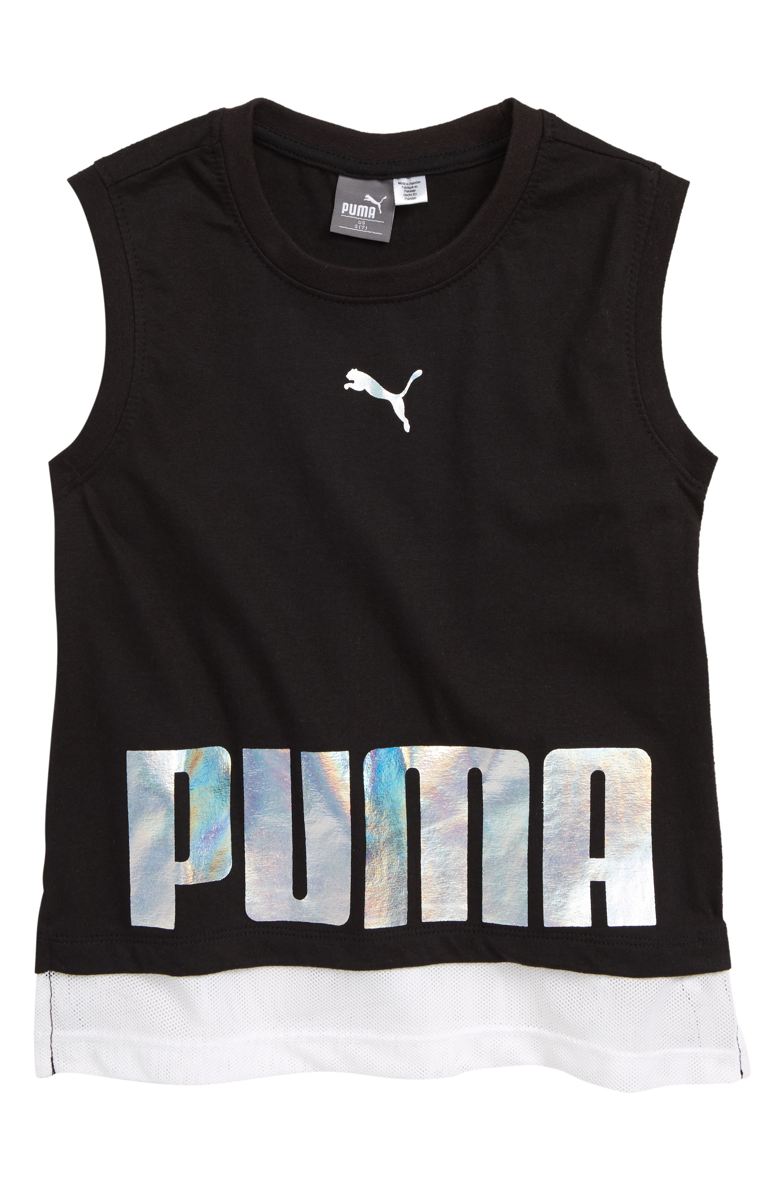PUMA Metallic Logo Mesh Hem Tee, Main, color, PUMA BLACK