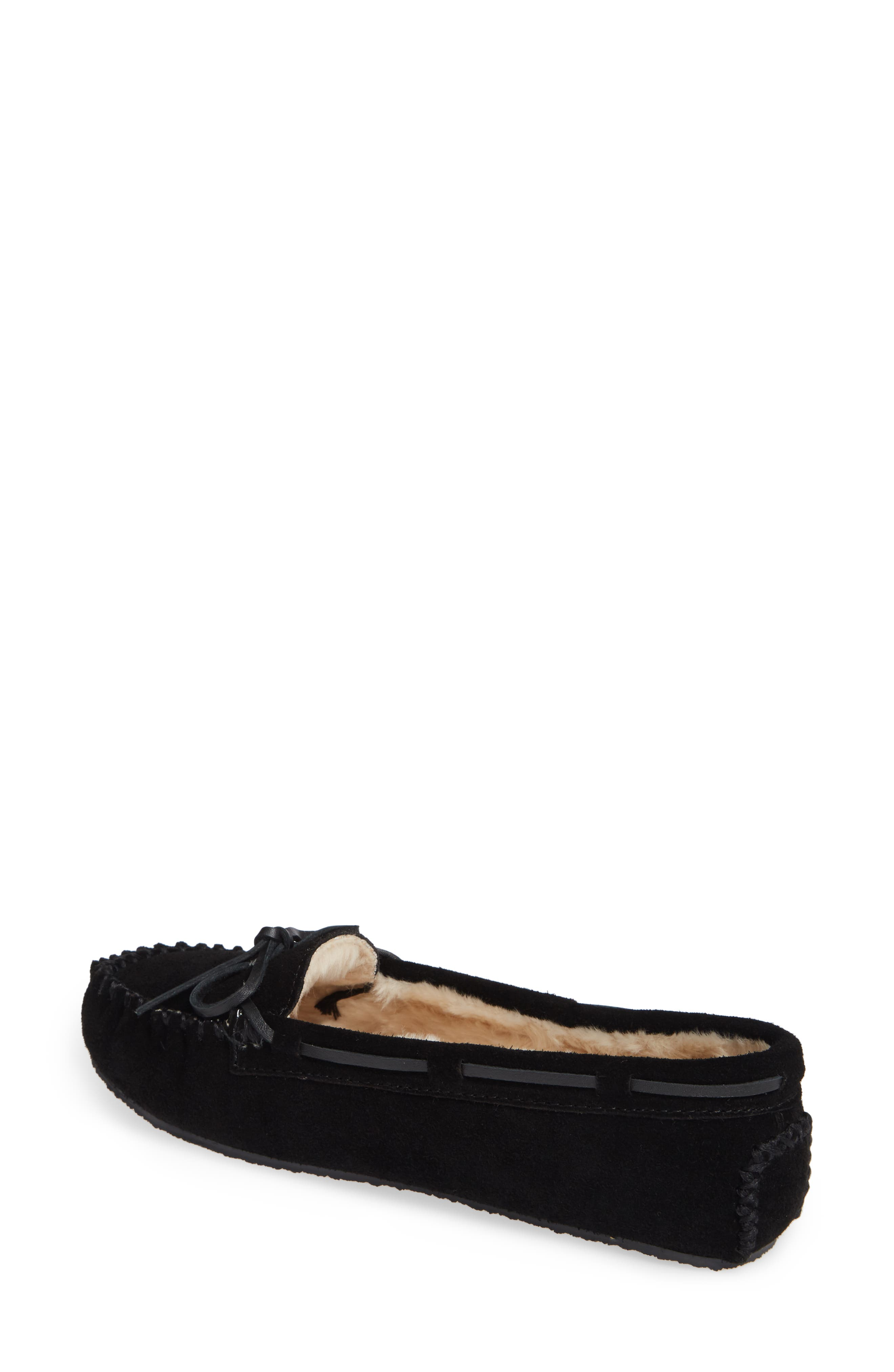 MINNETONKA, 'Cally' Slipper, Alternate thumbnail 2, color, BLACK SUEDE