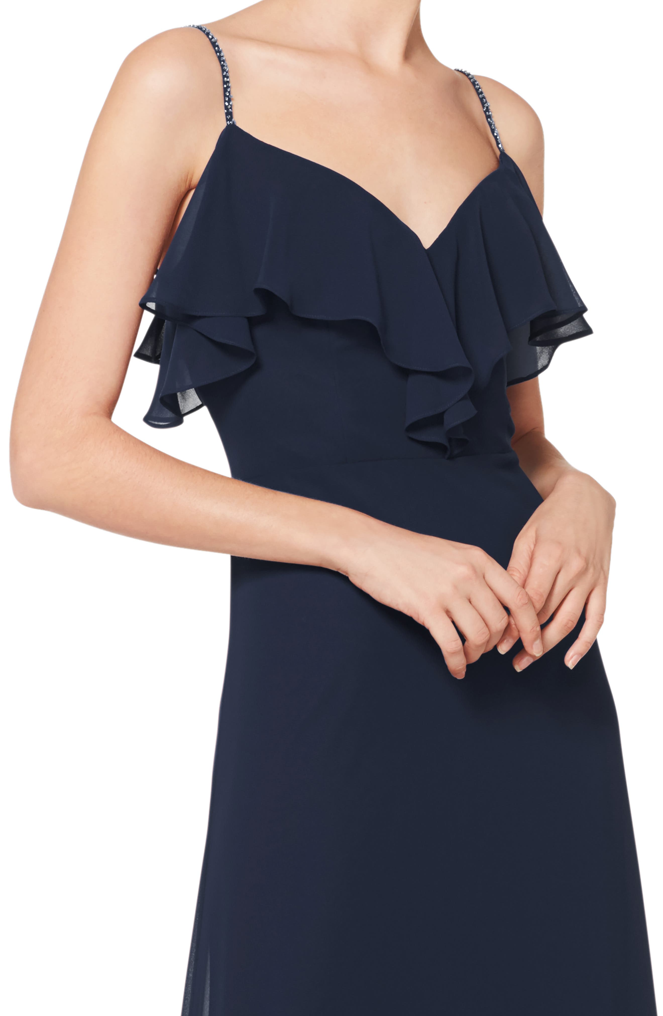 #LEVKOFF, Jeweled Strap Ruffle Neck Chiffon Gown, Alternate thumbnail 3, color, NAVY