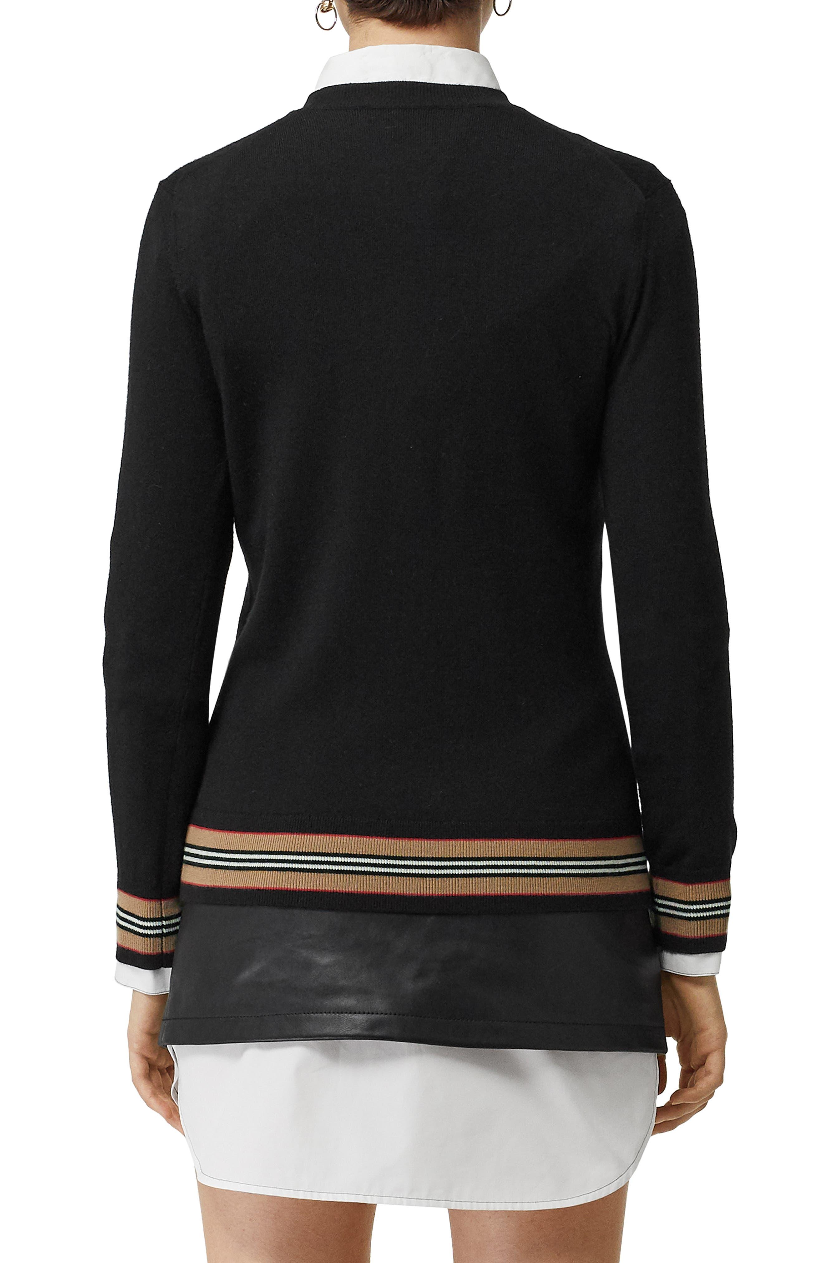 BURBERRY, Stripe Trim Merino Wool Sweater, Alternate thumbnail 2, color, BLACK