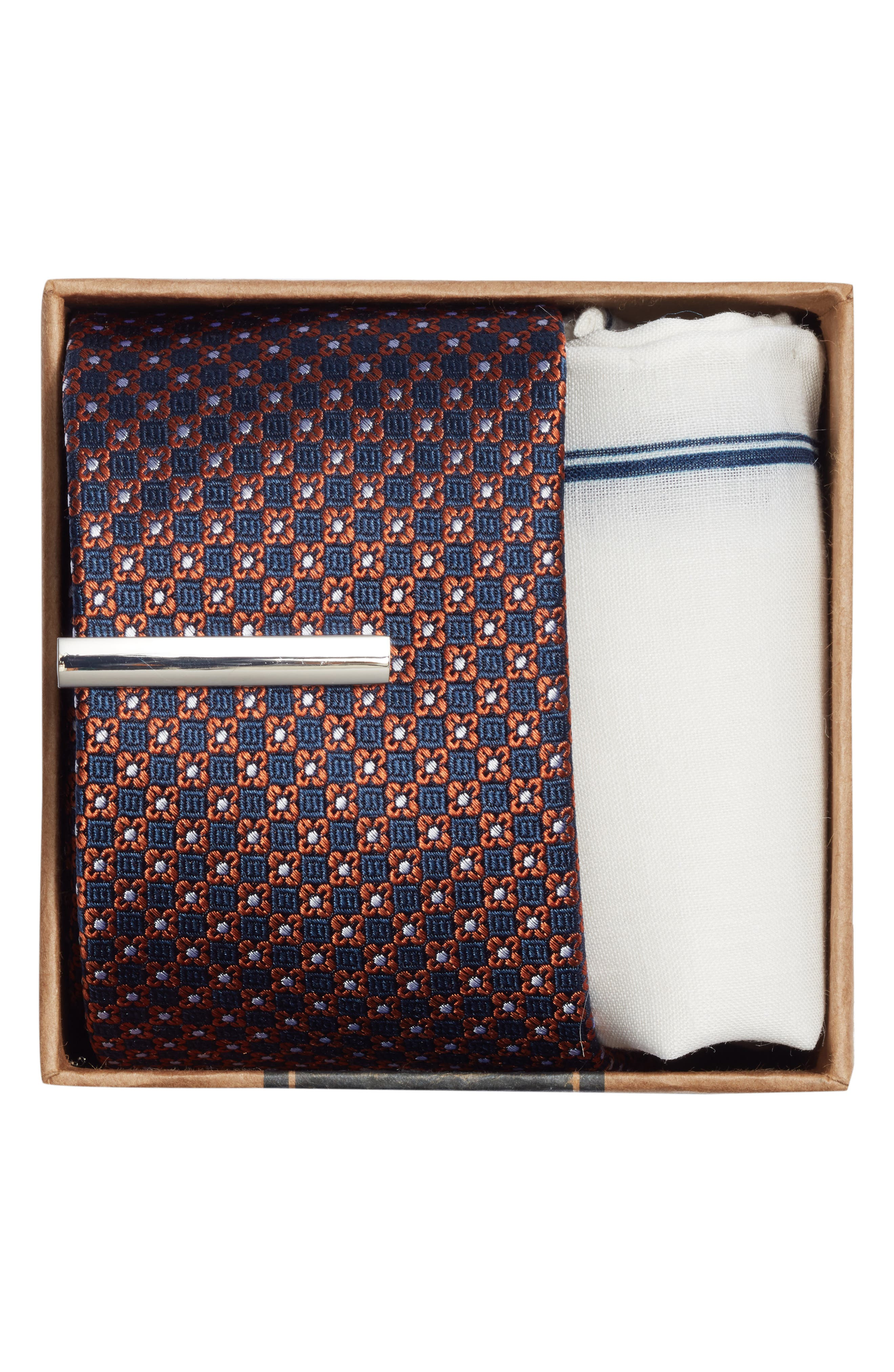 THE TIE BAR, Flower Network 3-Piece Skinny Tie Style Box, Alternate thumbnail 2, color, ORANGE