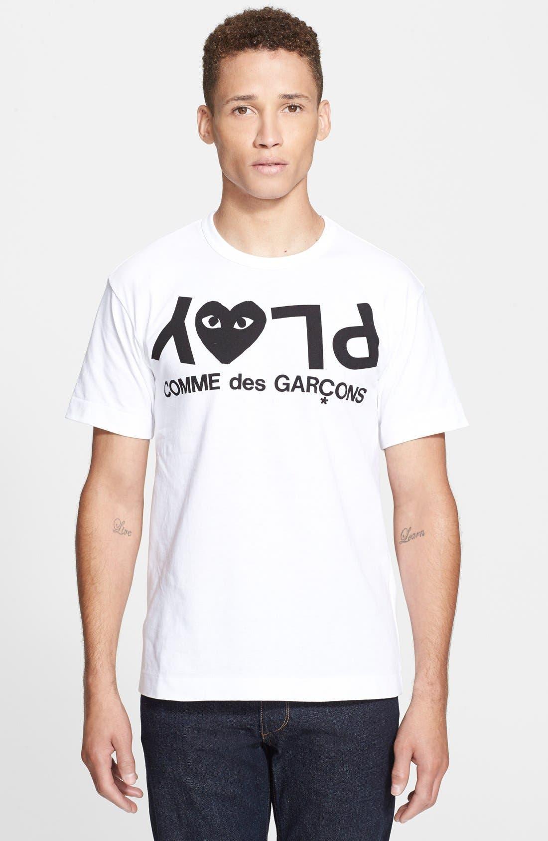 COMME DES GARÇONS PLAY, Graphic T-Shirt, Main thumbnail 1, color, WHITE