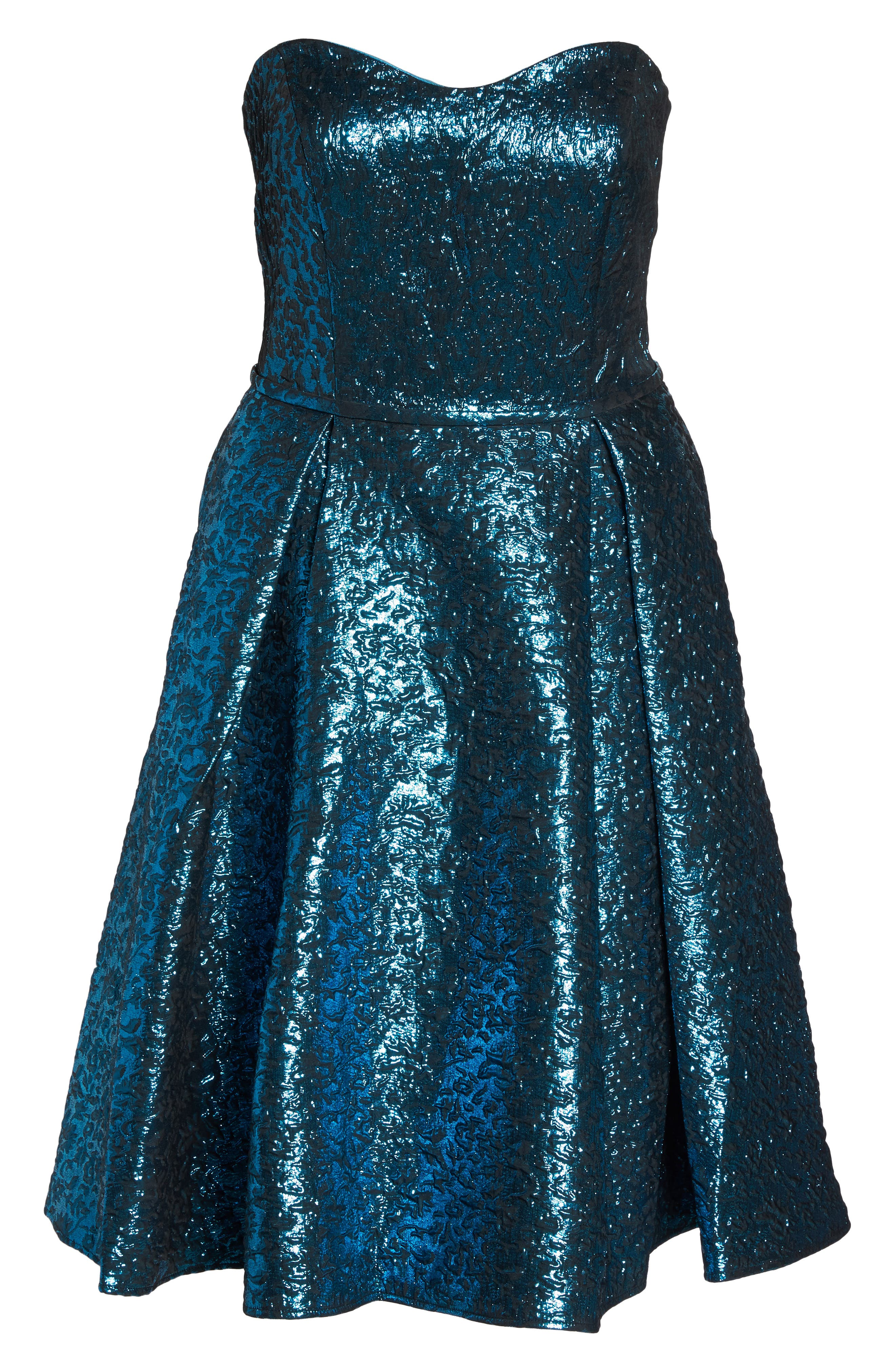 MAC DUGGAL, Metallic Fit & Flare Dress, Alternate thumbnail 6, color, TURQUOISE