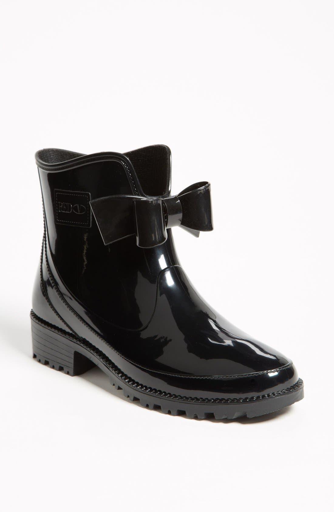 RED VALENTINO, 'Bow' Rain Boot, Main thumbnail 1, color, 001