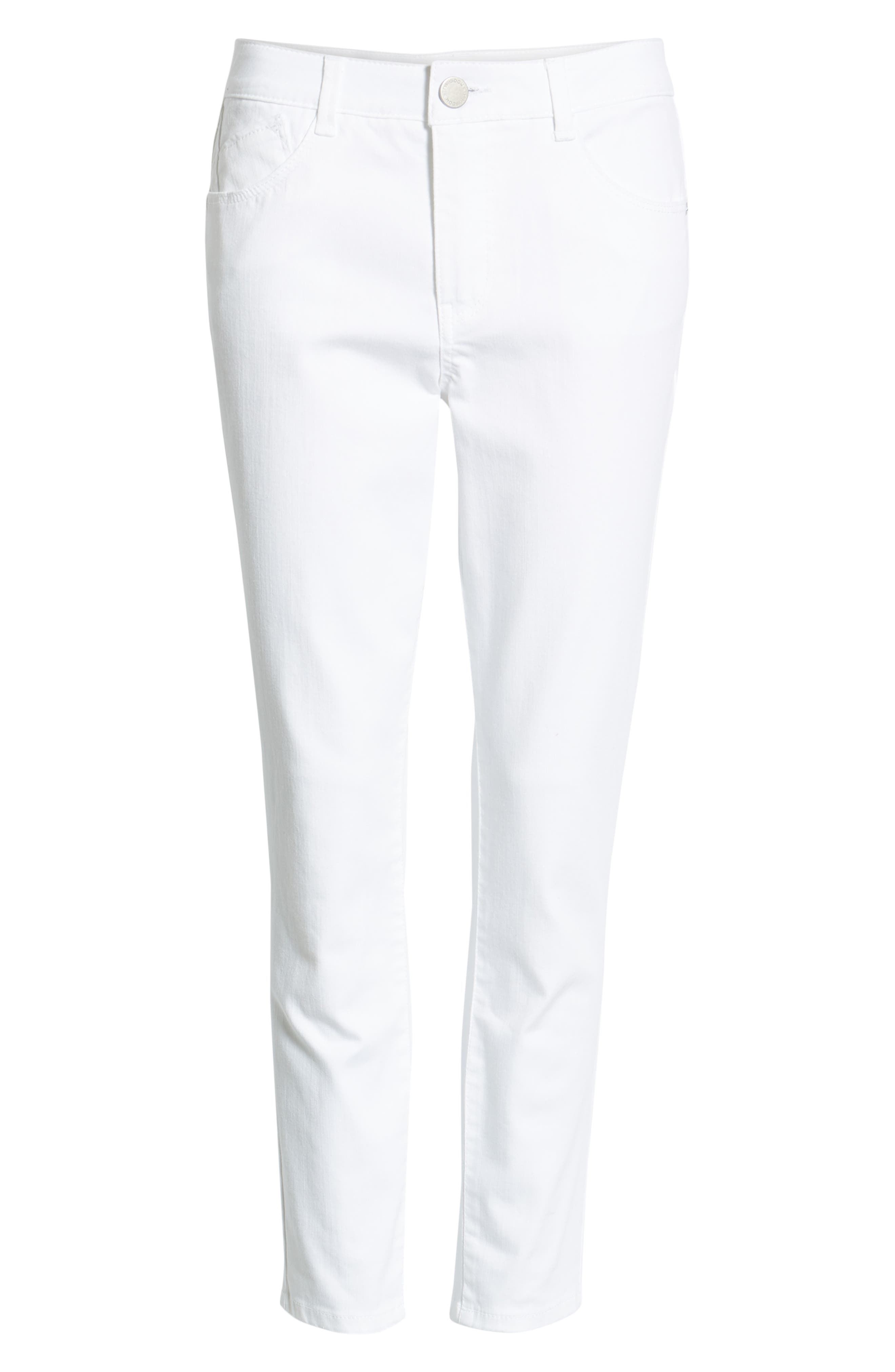 WIT & WISDOM, Ab-Solution High Waist Ankle Skinny Jeans, Alternate thumbnail 7, color, OPTIC WHITE