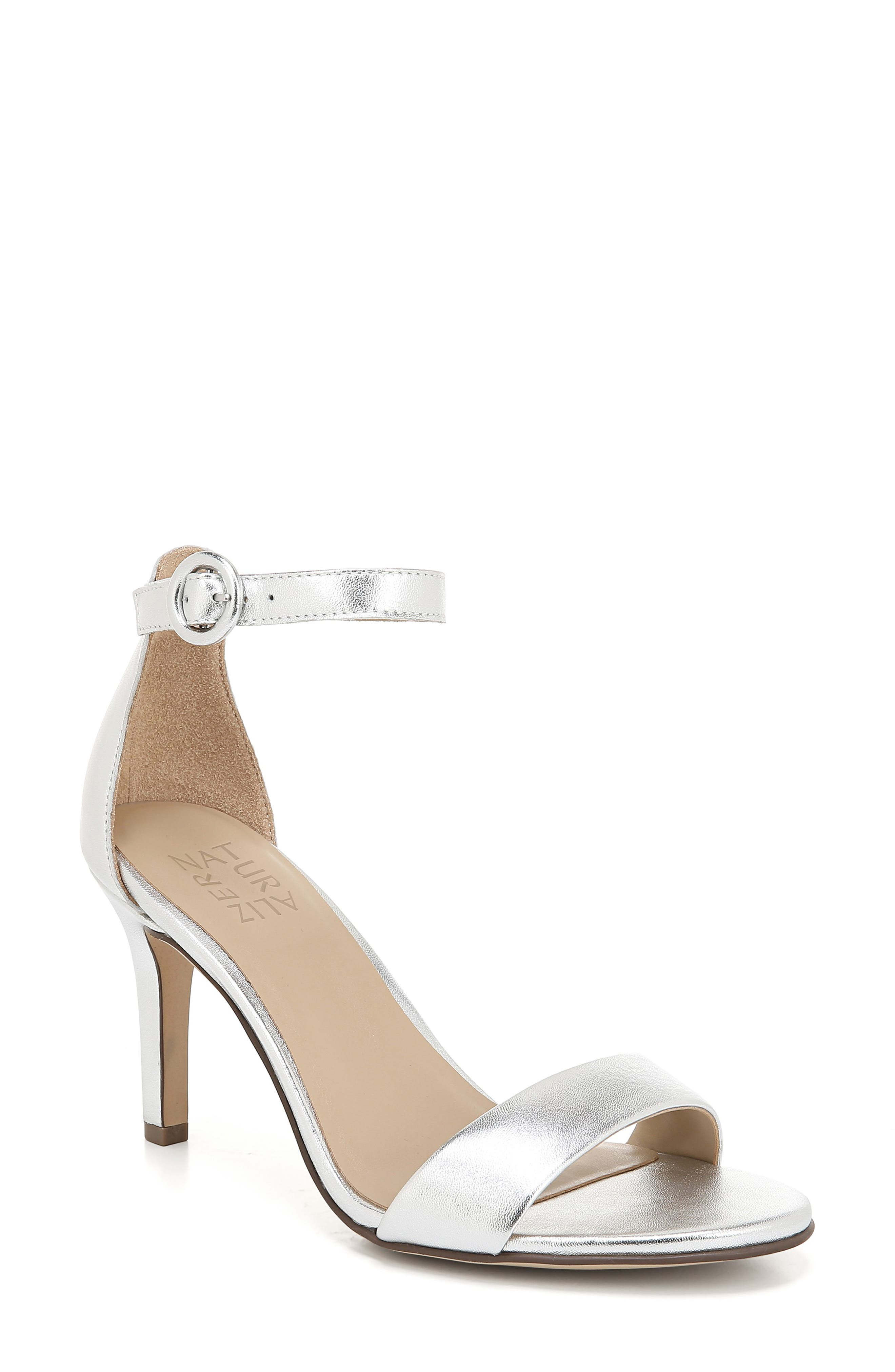NATURALIZER Kinsley Ankle Strap Sandal, Main, color, SILVER METALLIC LEATHER