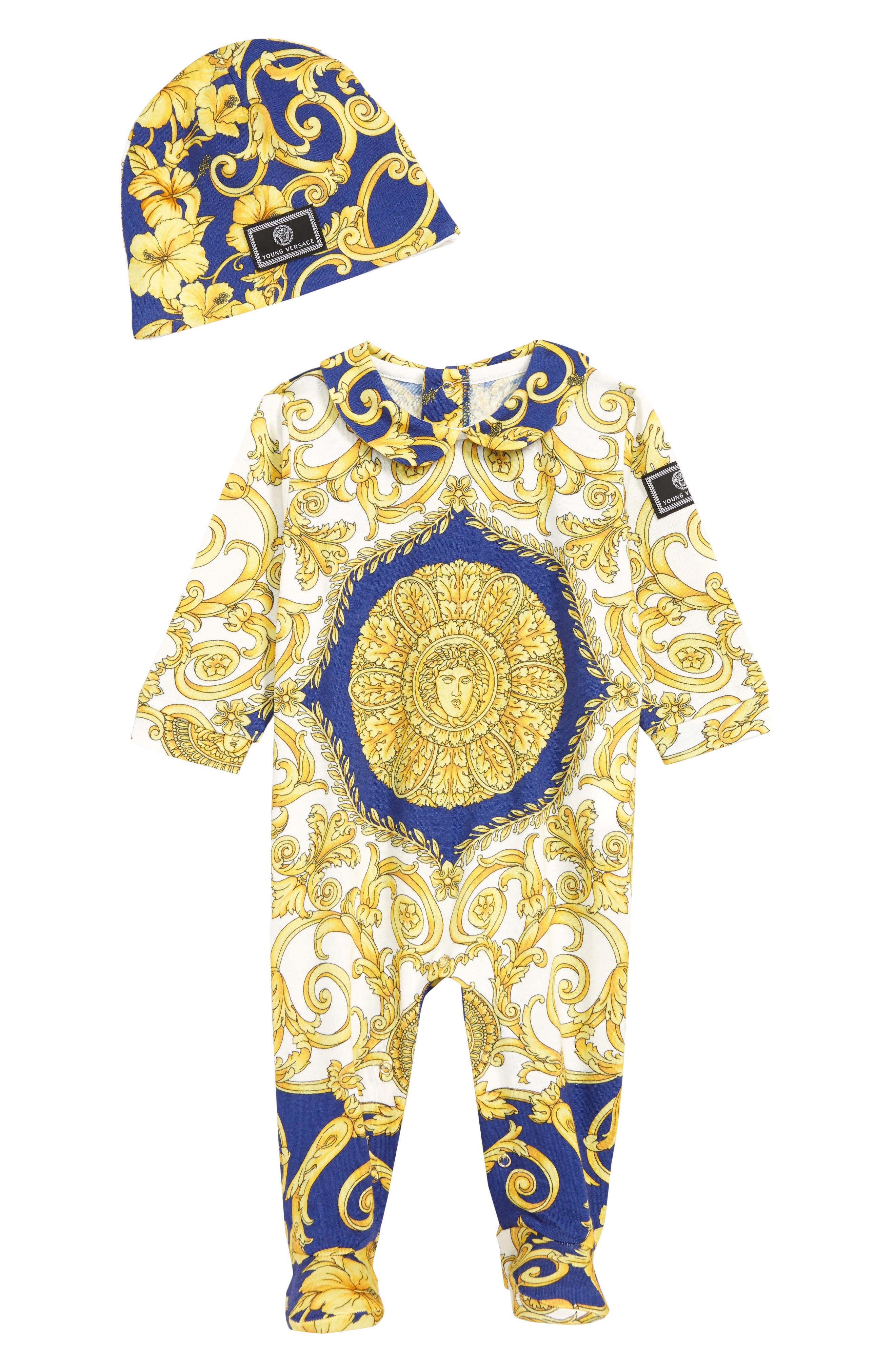 VERSACE Footie & Hat Set, Main, color, 5180 BLUE
