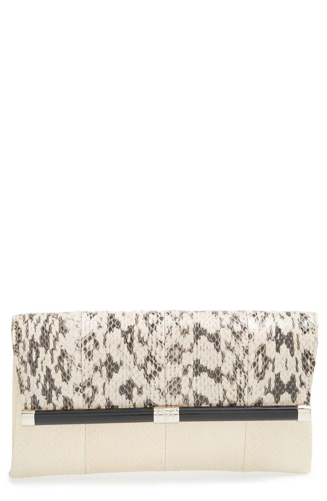 DIANE VON FURSTENBERG '440' Genuine Snakeskin Envelope Clutch, Main, color, 100