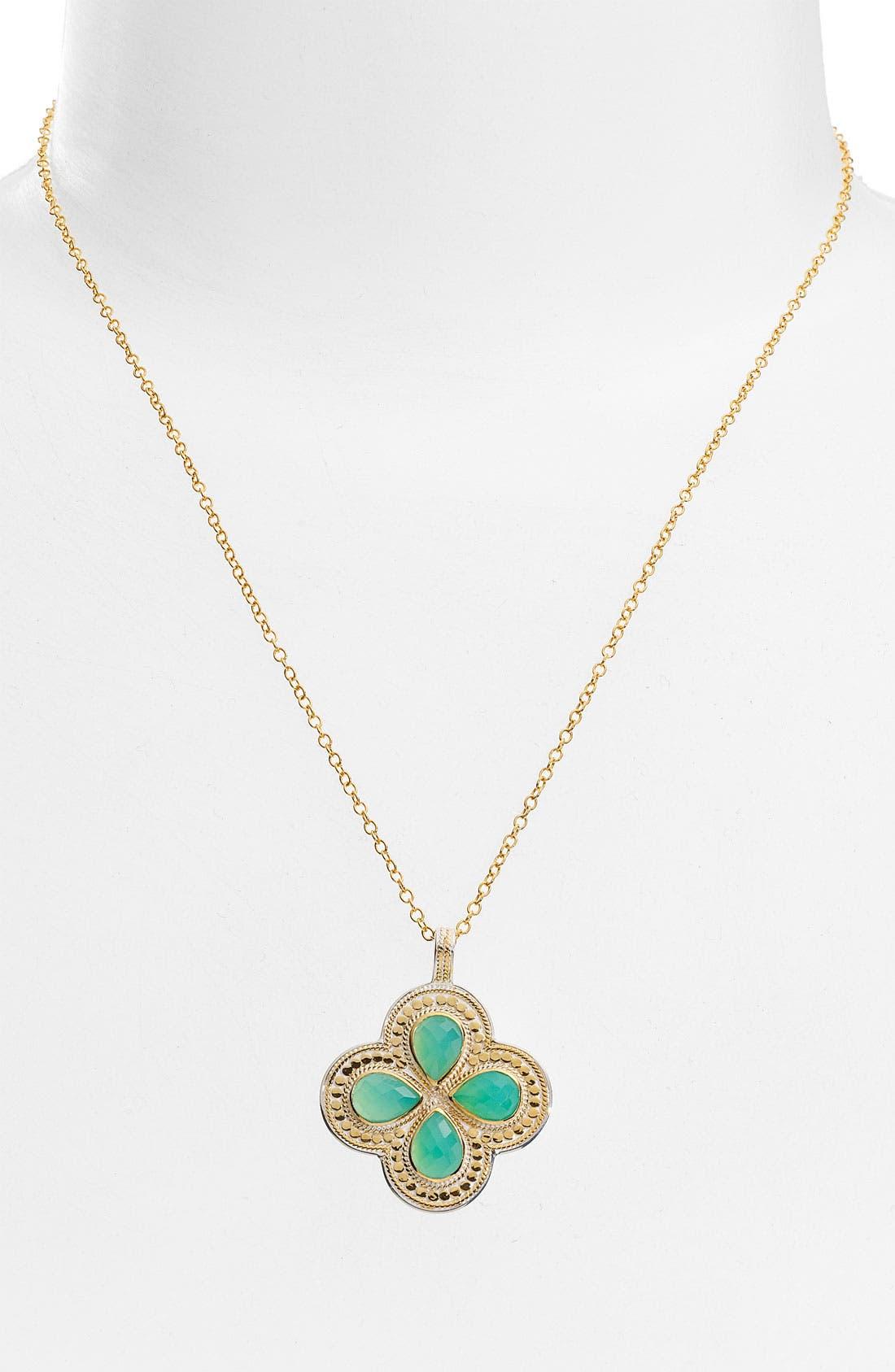 ANNA BECK, 'Gili' Small Clover Pendant Necklace, Main thumbnail 1, color, 710