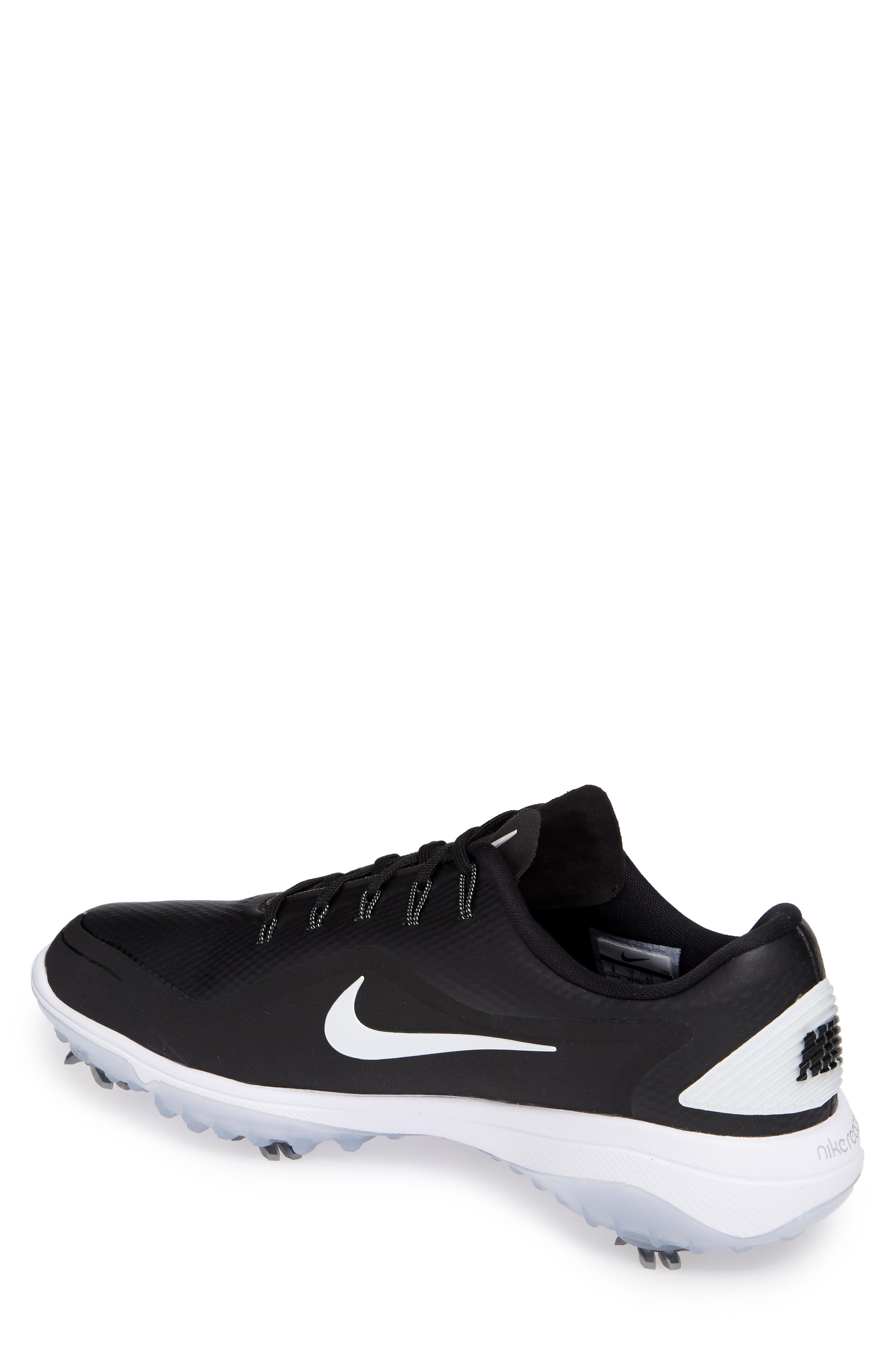 NIKE, React Vapor 2 Golf Shoe, Alternate thumbnail 2, color, BLACK/ METALLIC WHITE