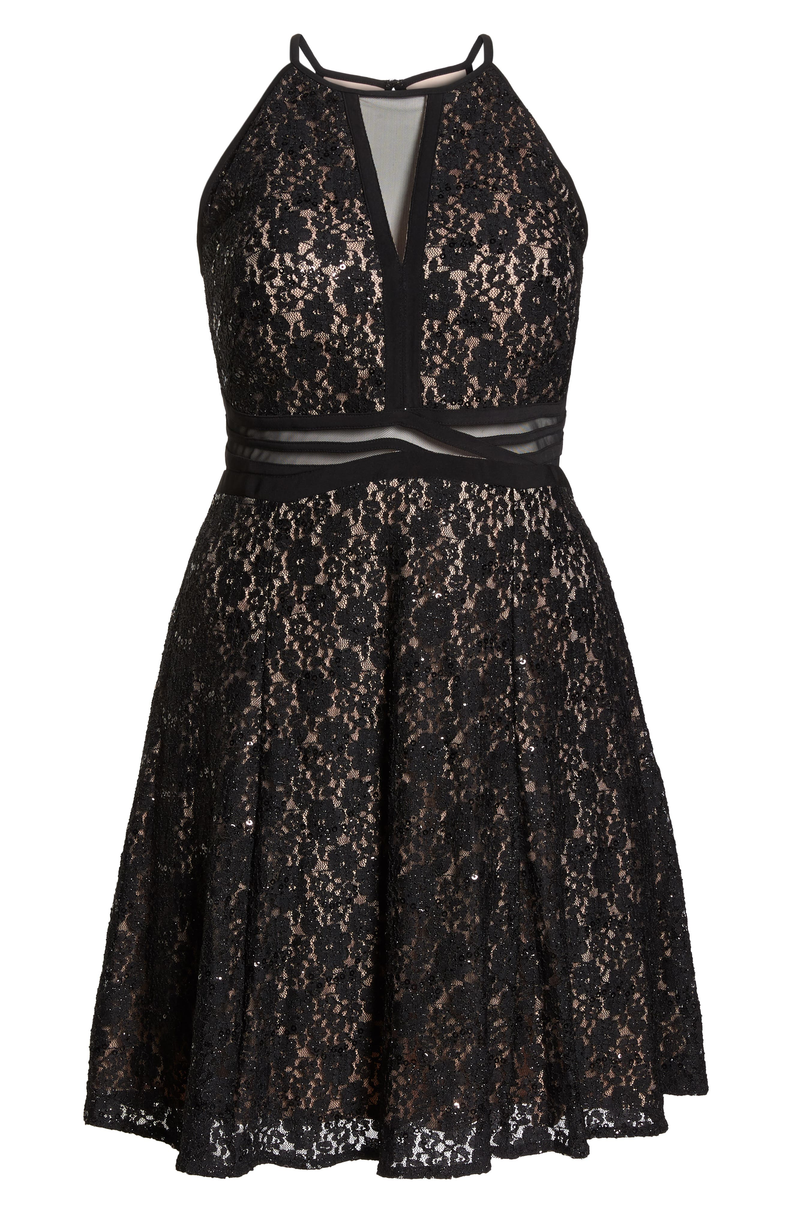 MORGAN & CO., Sheer Inset Lace Fit & Flare Dress, Alternate thumbnail 8, color, BLACK/ NUDE