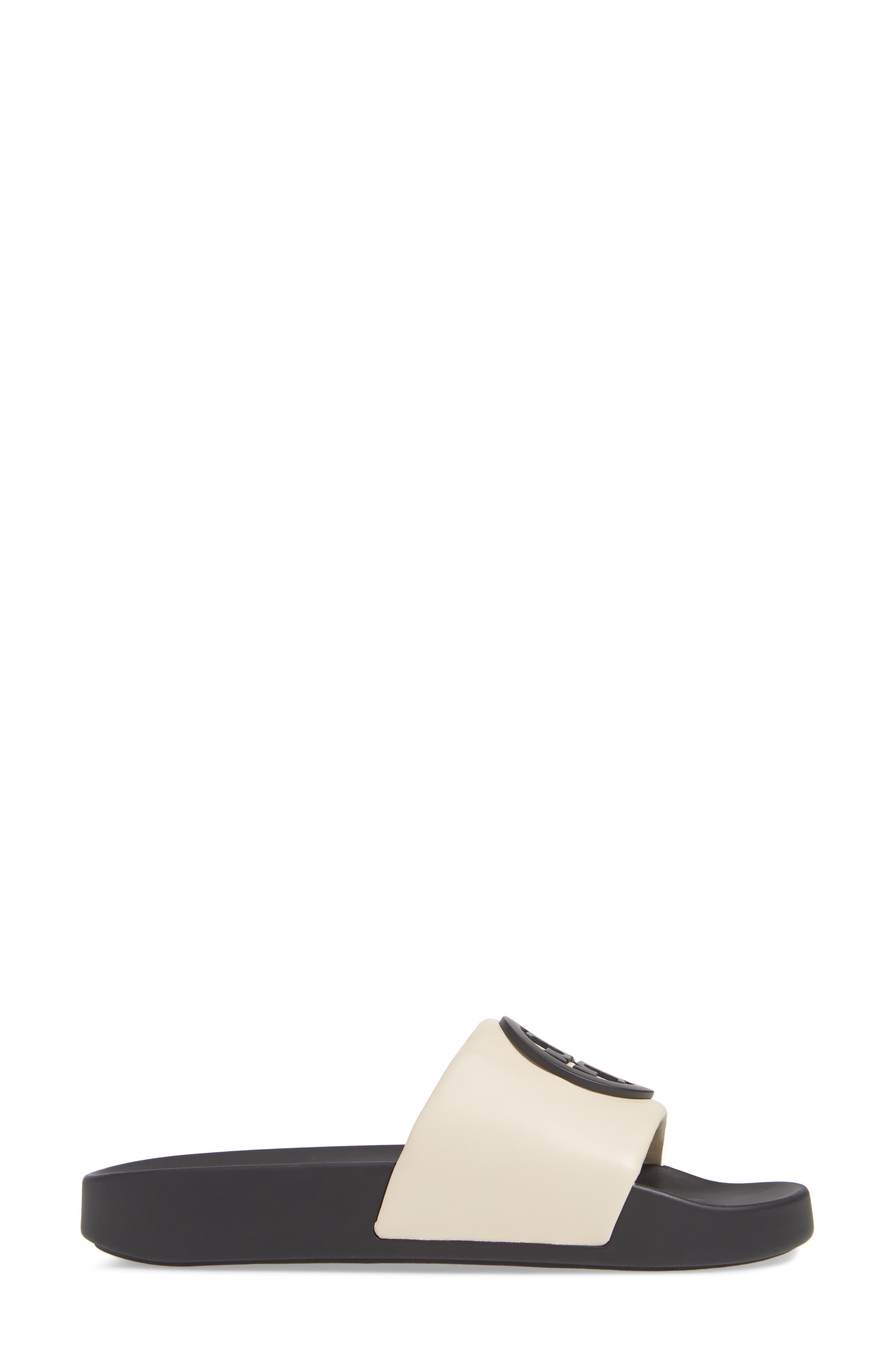 TORY BURCH, Lina Slide Sandal, Alternate thumbnail 3, color, NEW CREAM/ PERFECT BLACK