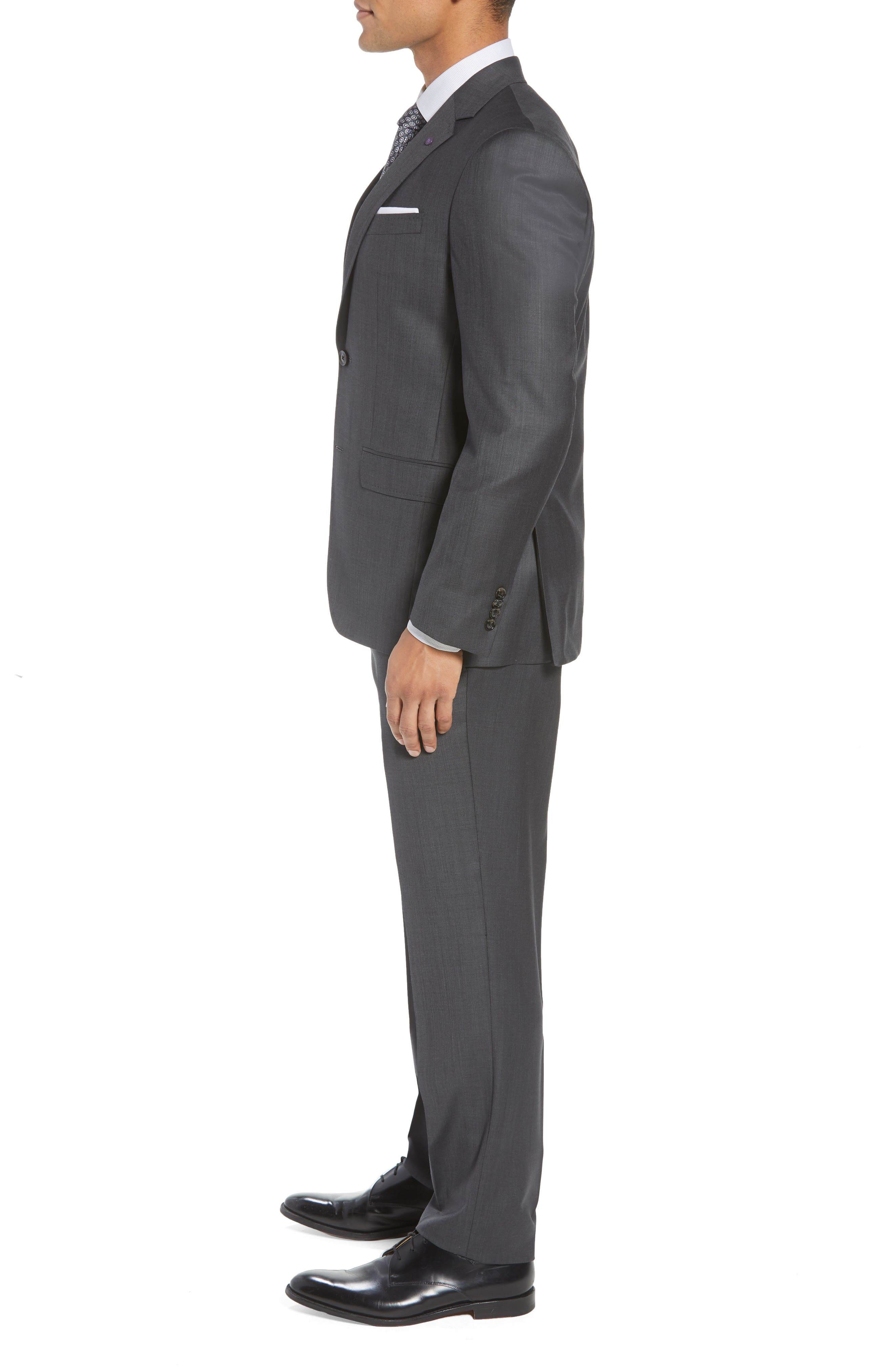TED BAKER LONDON, ay' Trim Fit Solid Wool Suit, Alternate thumbnail 3, color, CHARCOAL