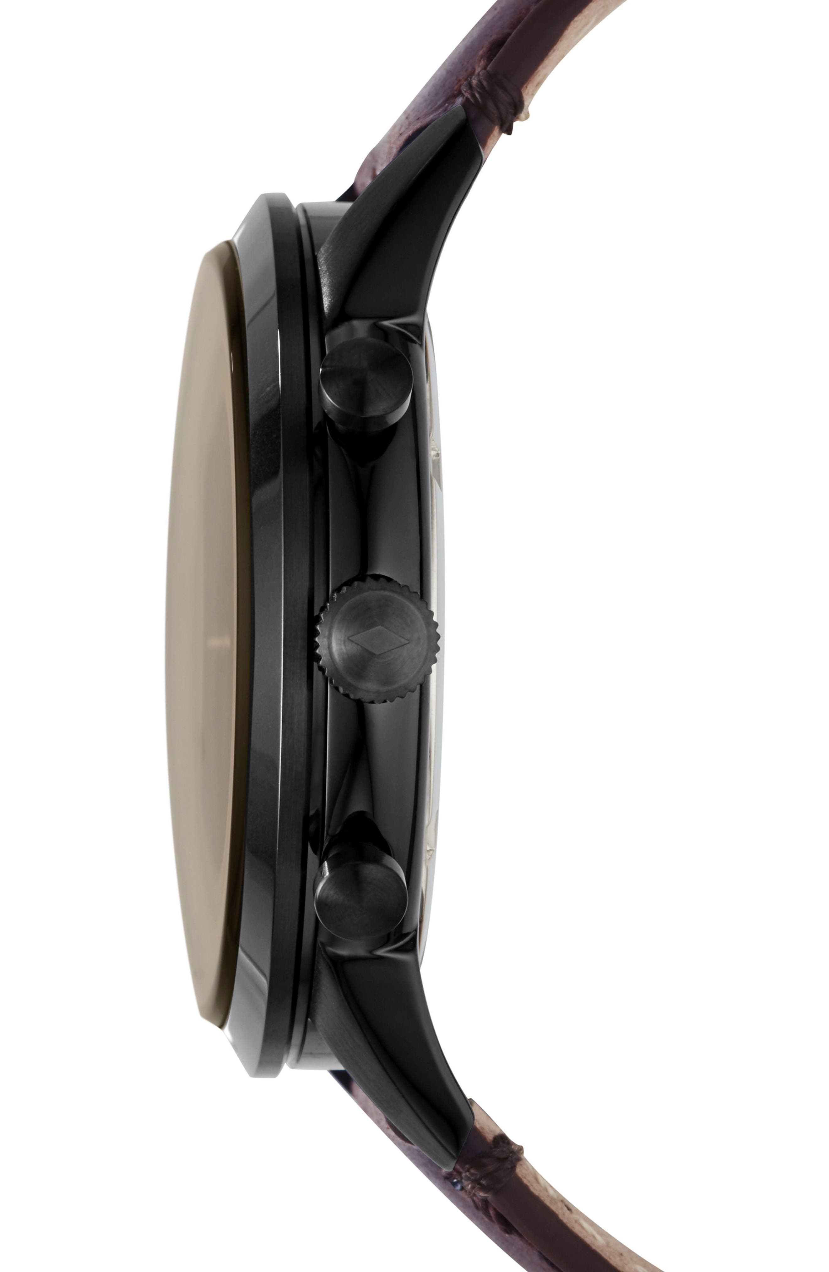 FOSSIL, Townsman Chronograph Leather Strap Watch, 44mm, Alternate thumbnail 2, color, BROWN/ BLACK/ BLACK