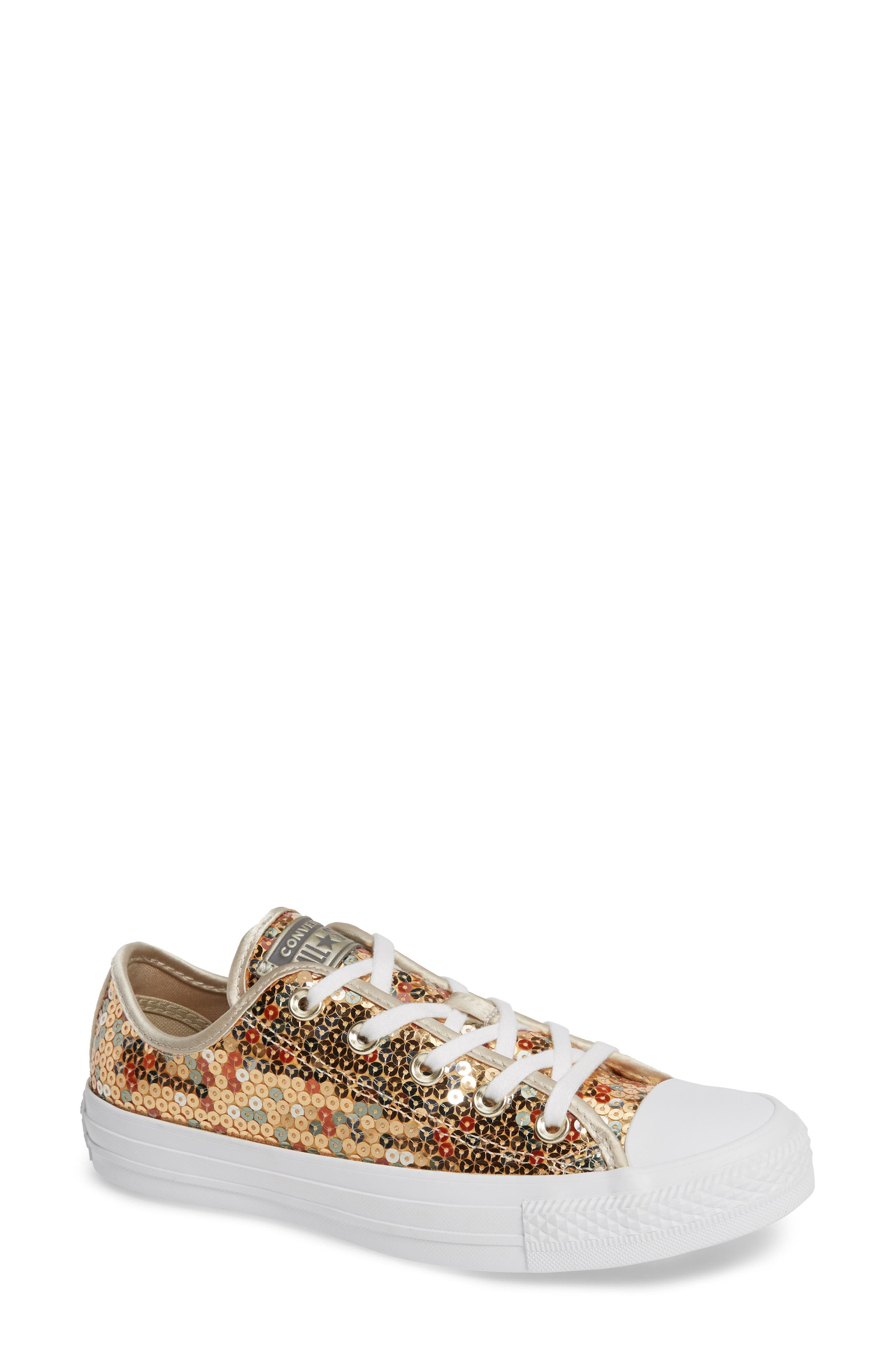 CONVERSE, Chuck Taylor<sup>®</sup> All Star<sup>®</sup> Sequin Low Top Sneaker, Main thumbnail 1, color, GOLD SEQUINS
