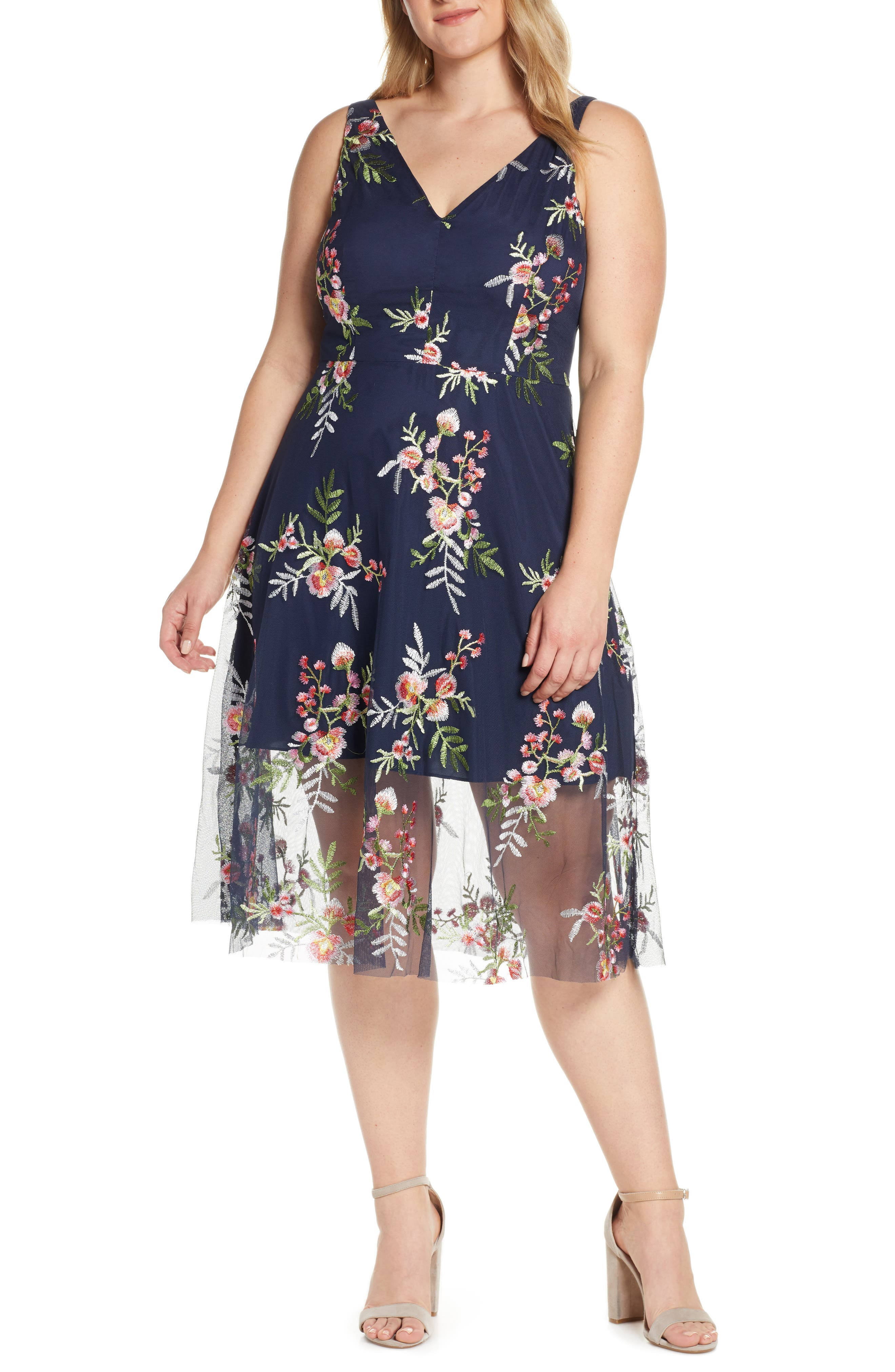 VINCE CAMUTO, Floral Embroidered Mesh Midi Dress, Alternate thumbnail 2, color, NAVY/ MULTI