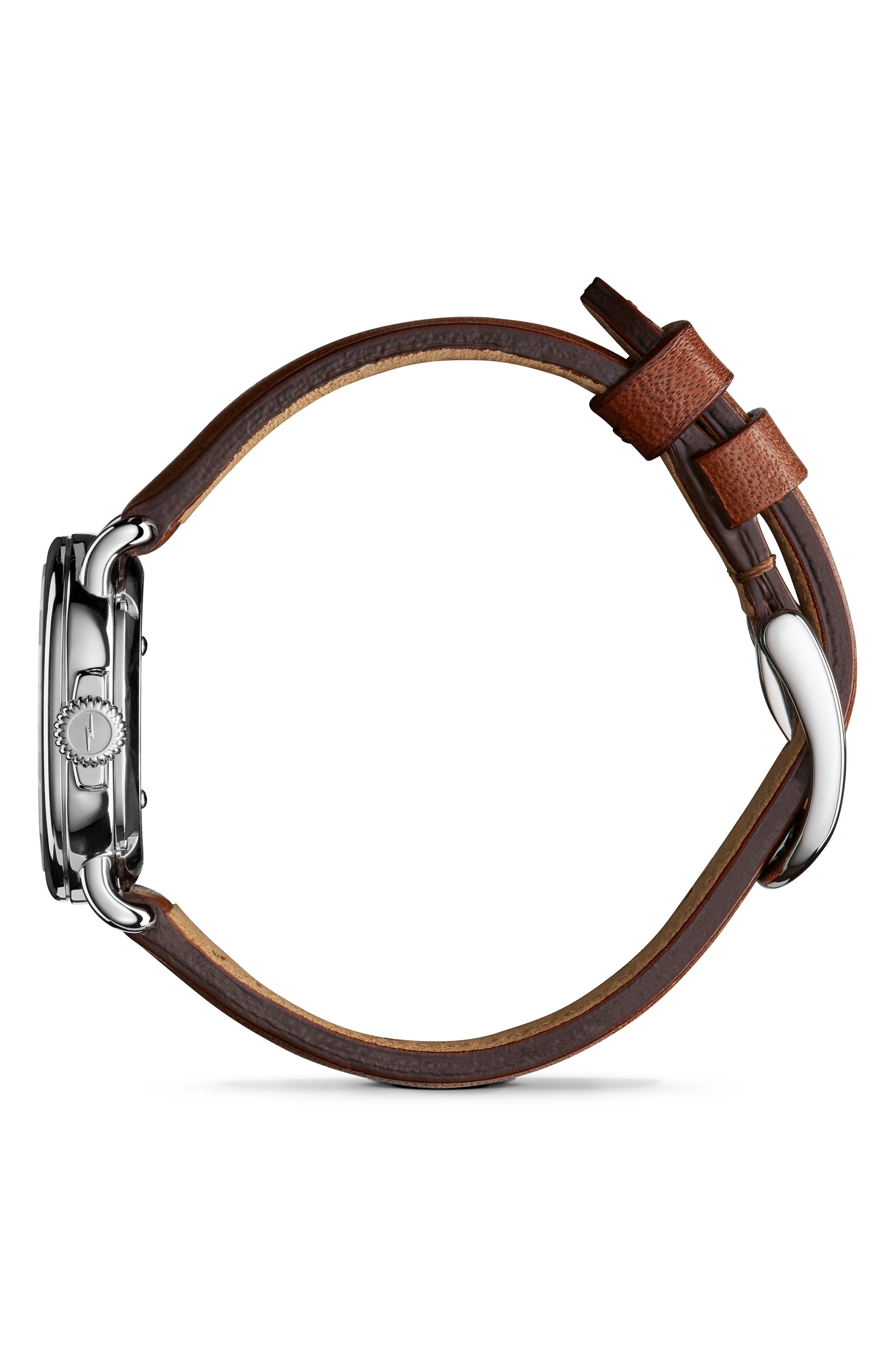 SHINOLA, The Runwell Leather Strap Watch, 28mm, Alternate thumbnail 3, color, DARK COGNAC/ WHITE/ SILVER