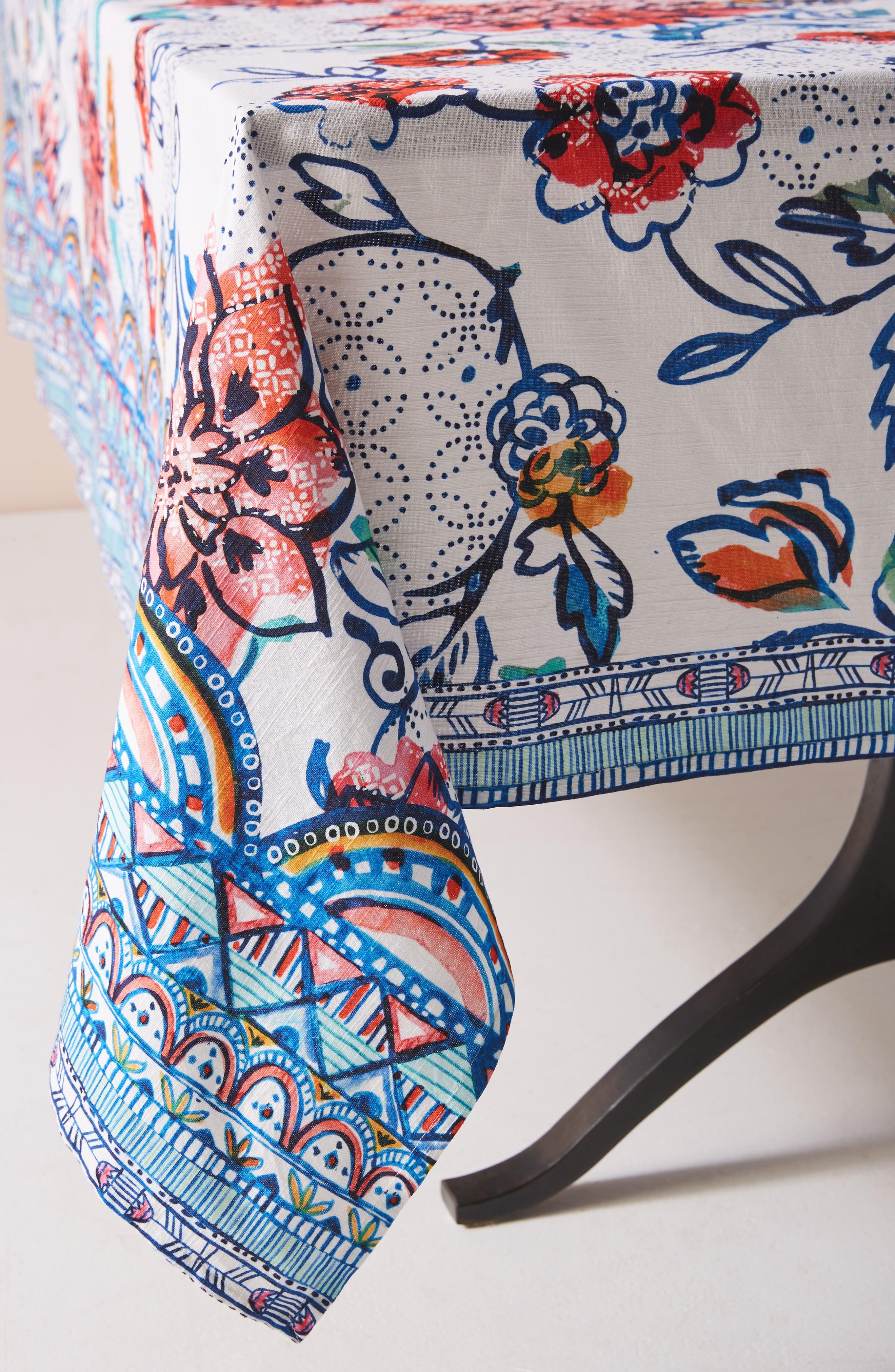 ANTHROPOLOGIE, Belinda Tablecloth, Alternate thumbnail 3, color, TURQ