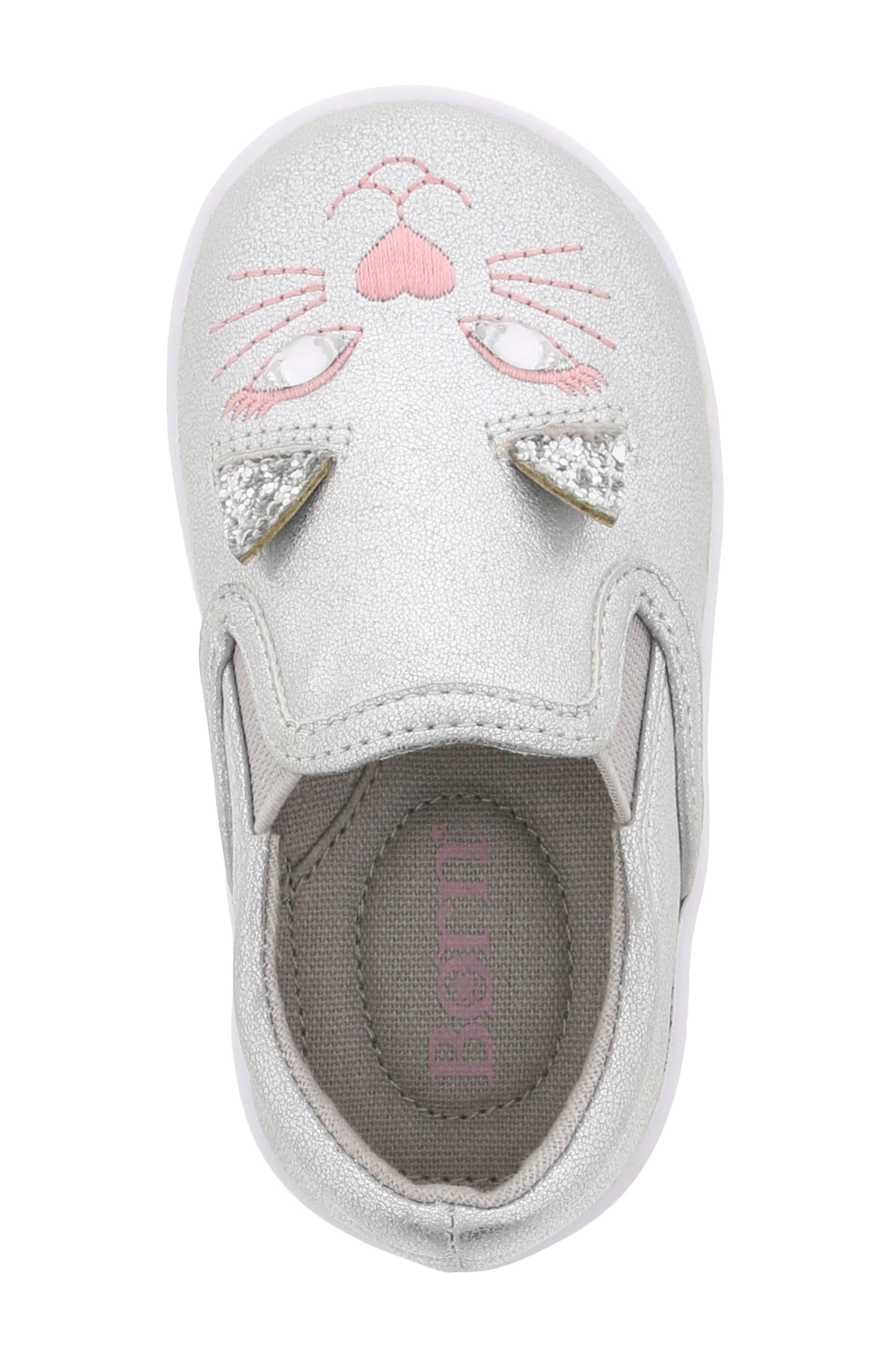 BØRN, Bailey Jaslyna Slip-On Glitter Sneaker, Alternate thumbnail 5, color, SILVER