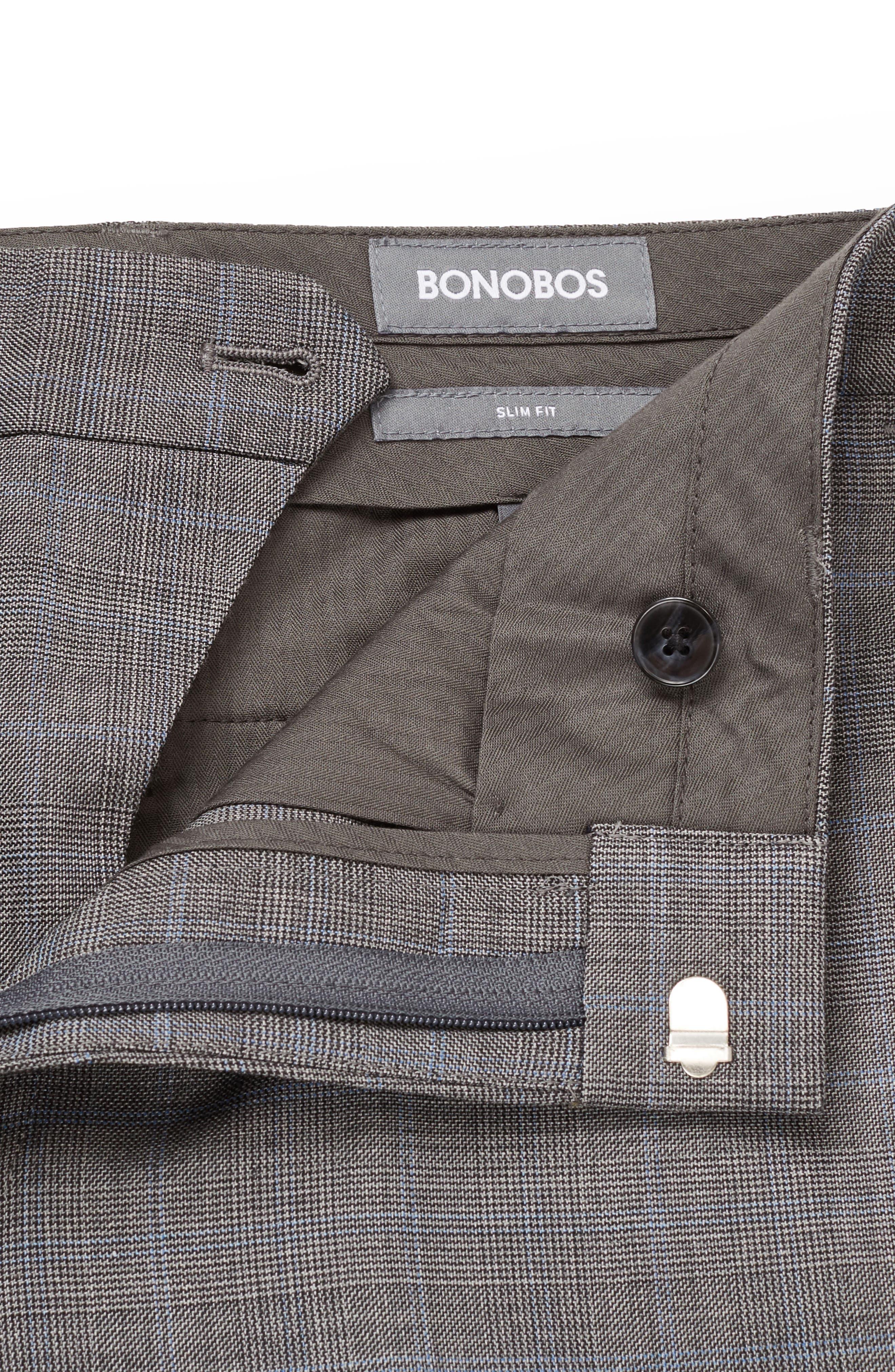 BONOBOS, Jetsetter Flat Front Plaid Stretch Wool Trousers, Alternate thumbnail 3, color, 020