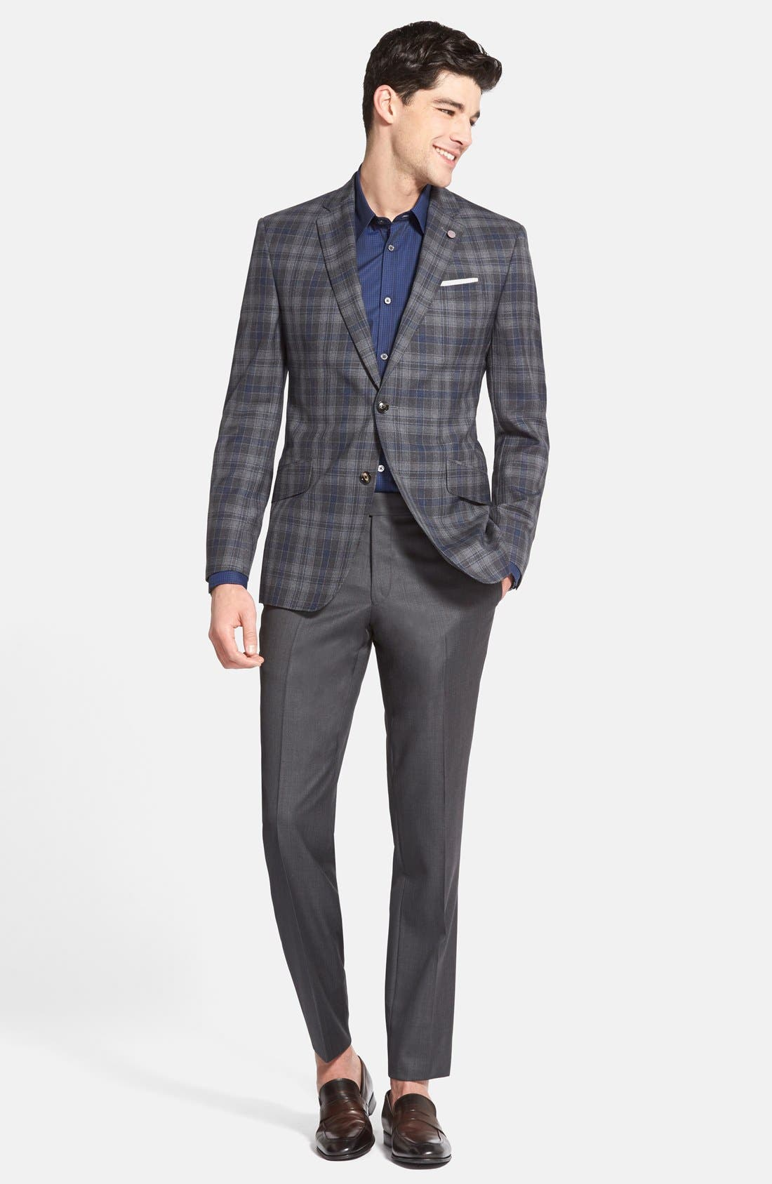 TED BAKER LONDON, Jefferson Flat Front Wool Trousers, Alternate thumbnail 9, color, MID GREY