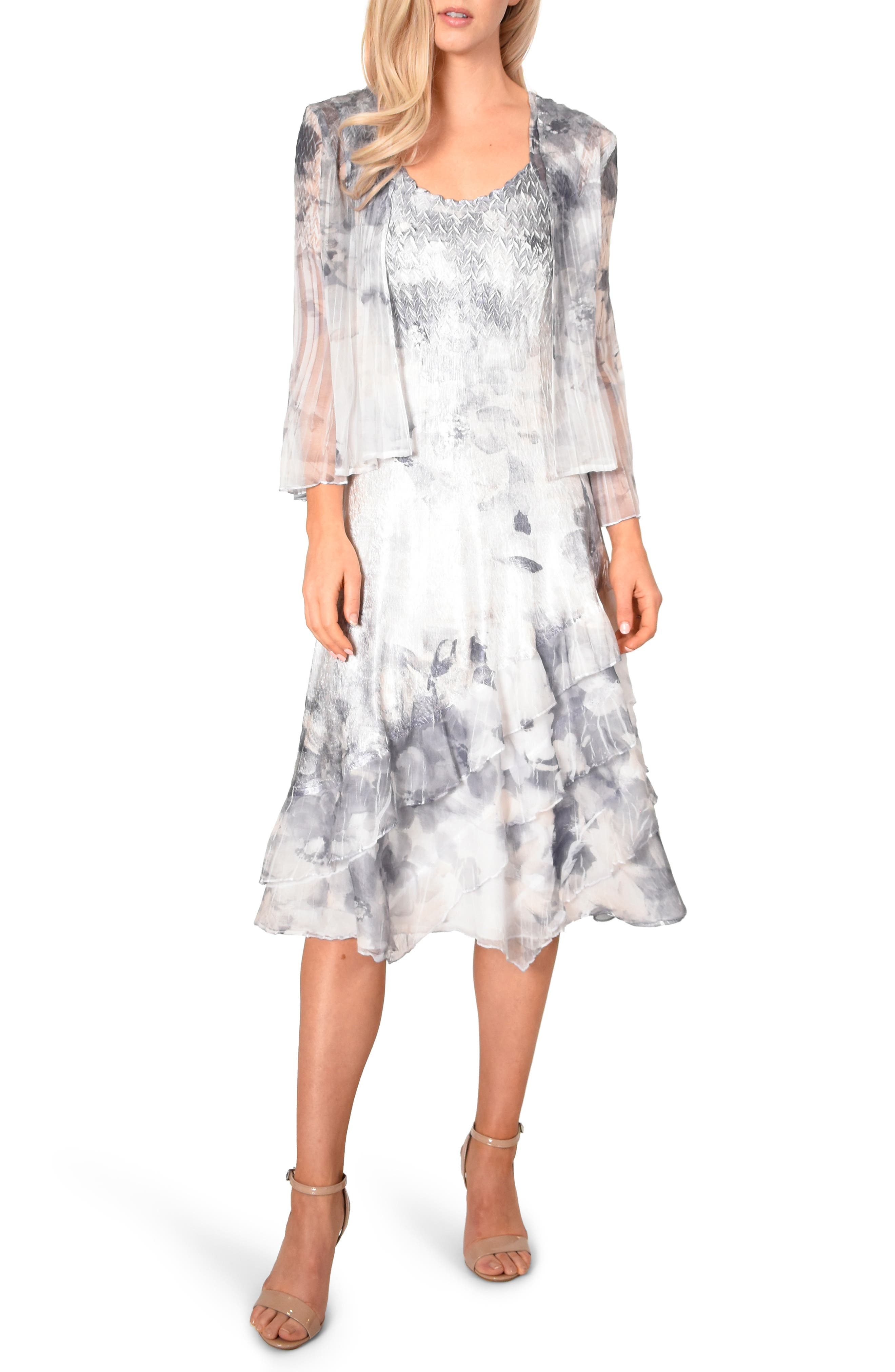 KOMAROV, Floral Charmeuse & Chiffon Dress with Jacket, Main thumbnail 1, color, FROSTED PETAL