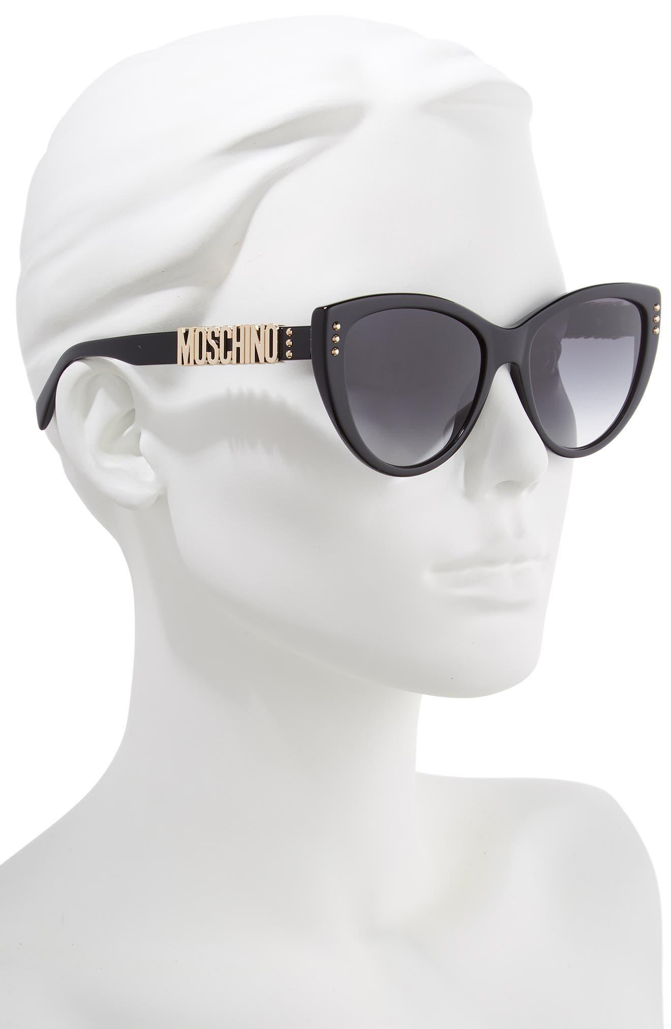 MOSCHINO, 56mm Gradient Cat Eye Sunglasses, Alternate thumbnail 2, color, BLACK
