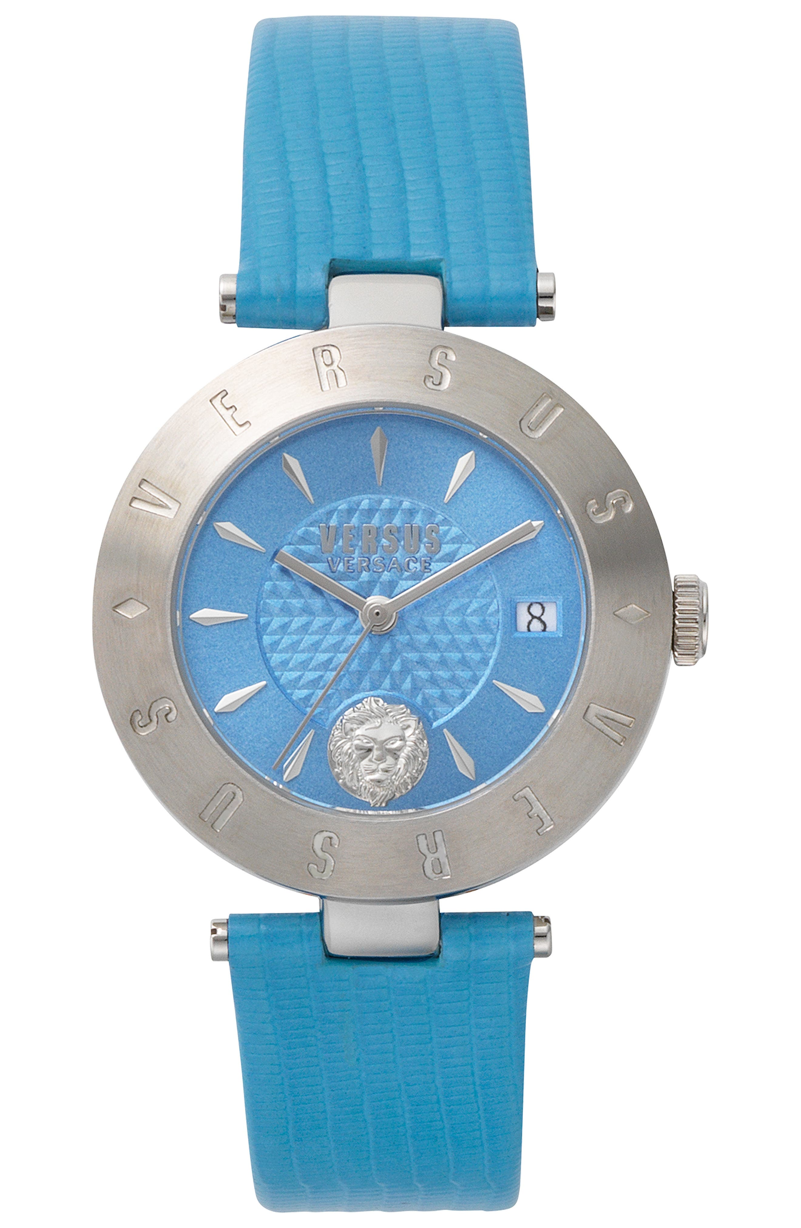 VERSUS VERSACE, Logo Leather Strap Watch, 34mm, Main thumbnail 1, color, BLUE/ SILVER