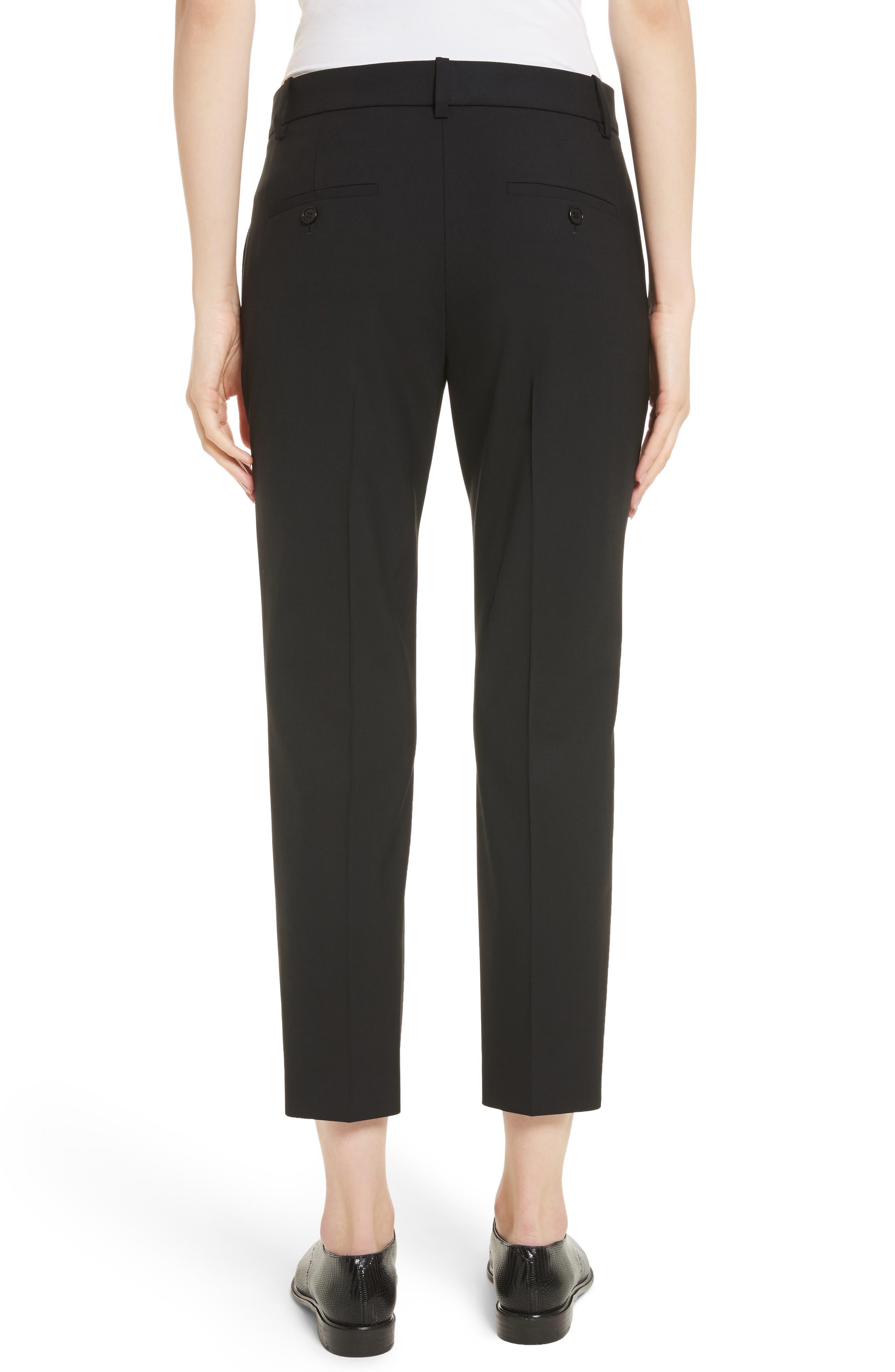 THEORY, Treeca 2 Good Wool Crop Suit Pants, Alternate thumbnail 2, color, BLACK