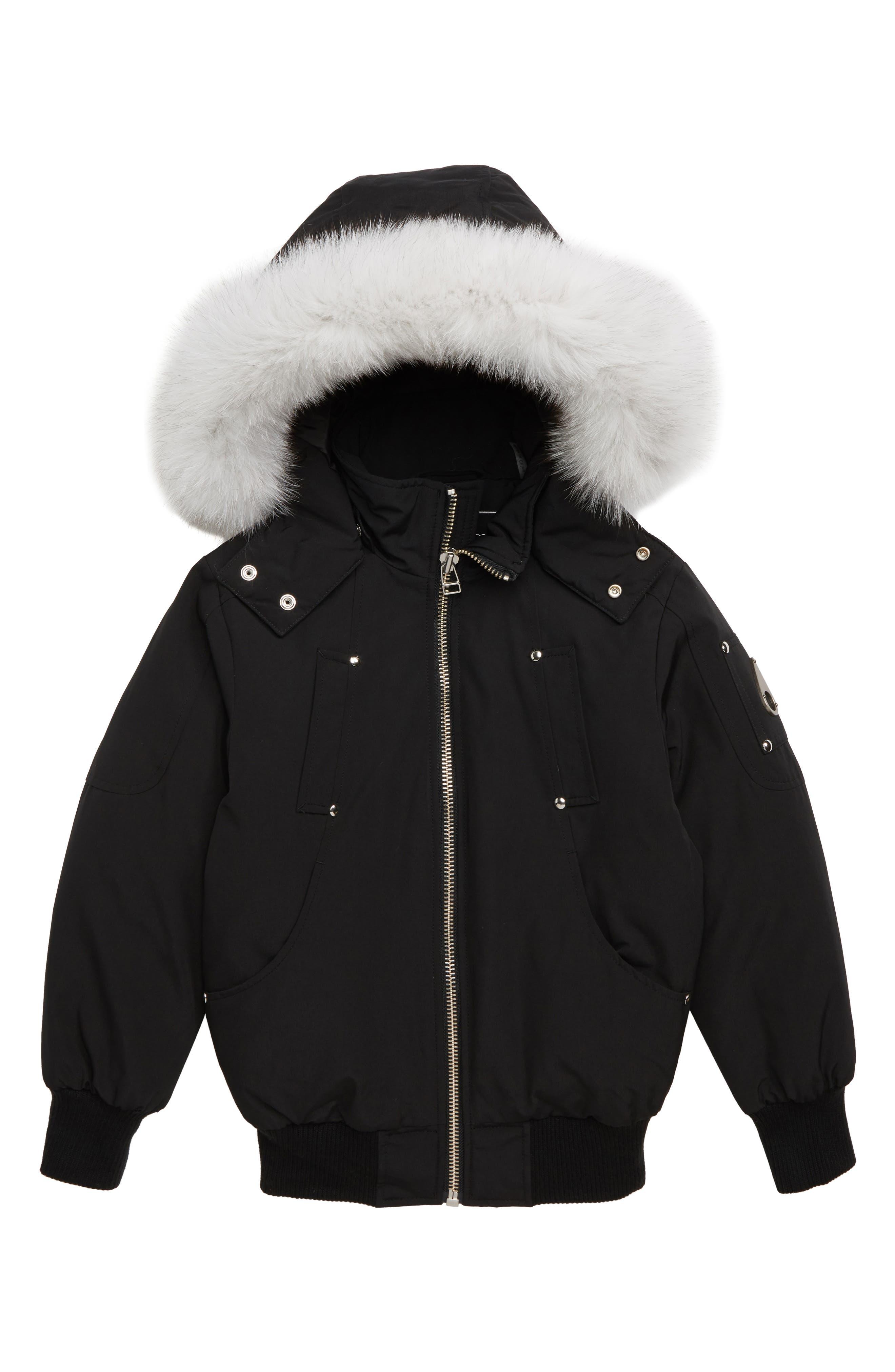 MOOSE KNUCKLES, Bomber Jacket with Genuine Fox Fur Trim, Main thumbnail 1, color, BLACK